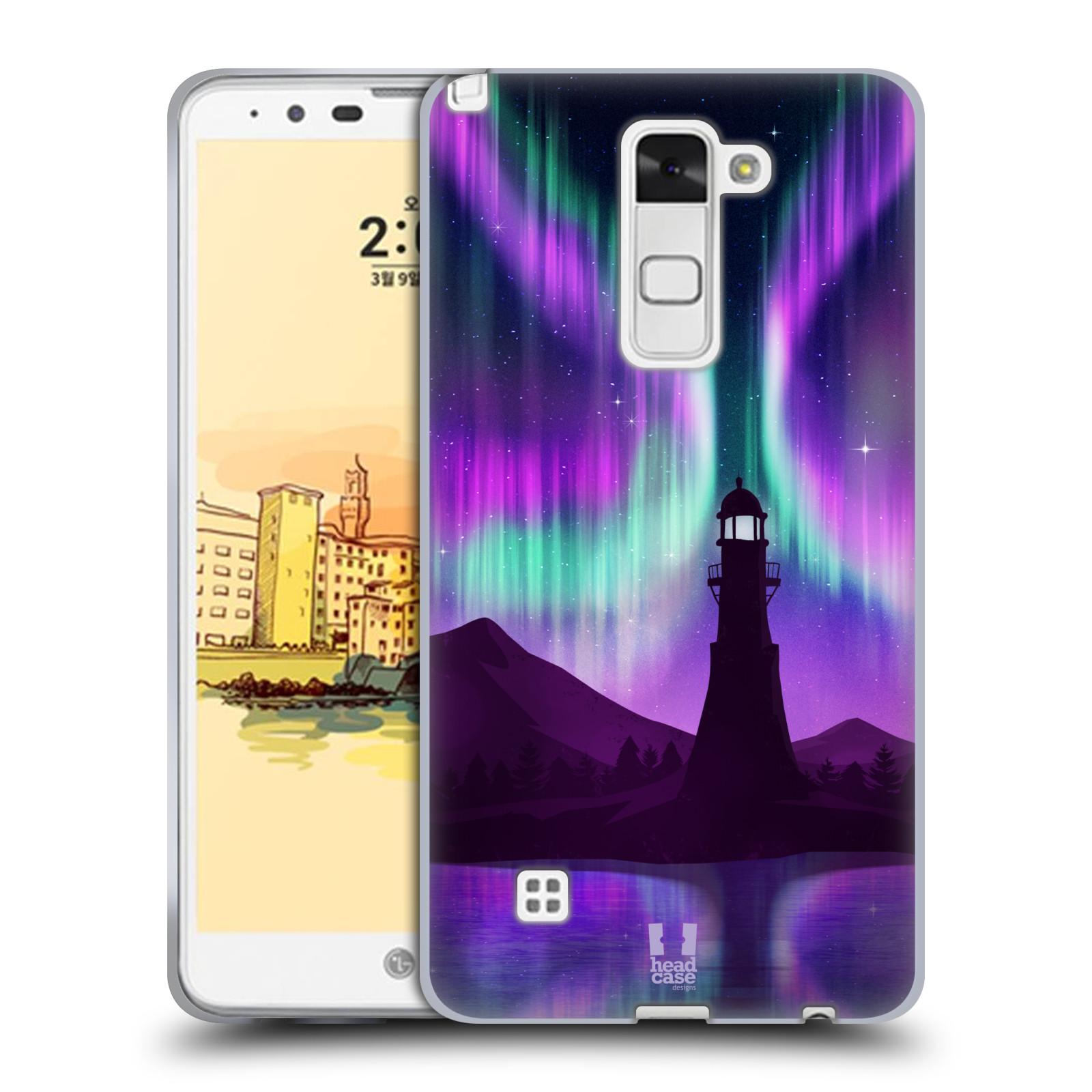 HEAD CASE silikonový obal na mobil LG Stylus 2 (K520) vzor Severní polární  záře FIALOVÁ MAJÁK 30d82d7884c