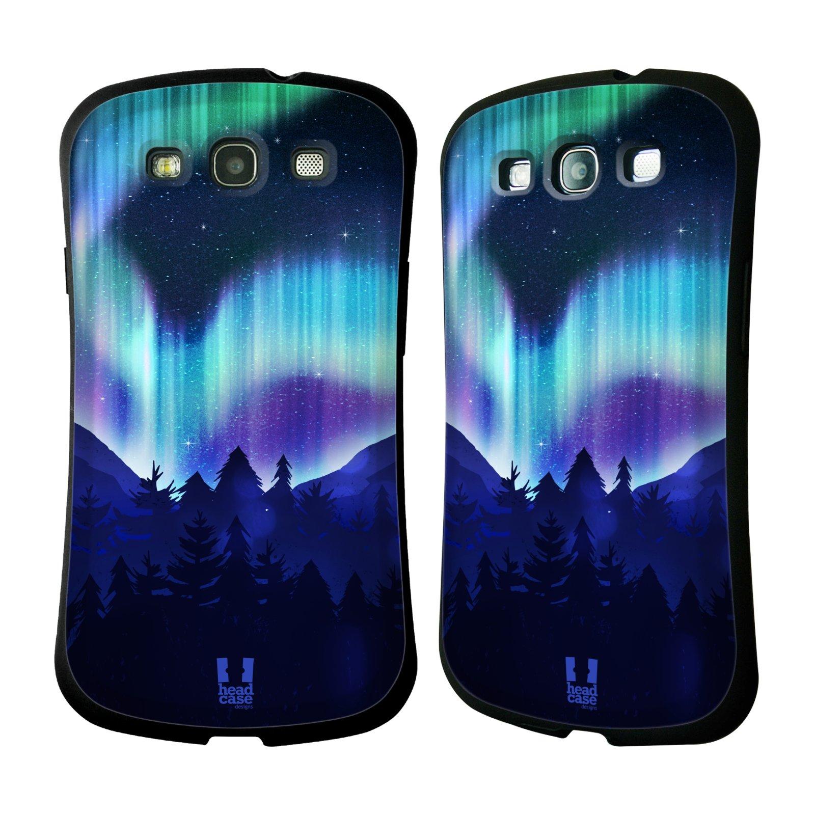HEAD CASE silikon/plast odolný obal na mobil Samsung Galaxy S3 vzor Severní polární záře MODRÁ LES