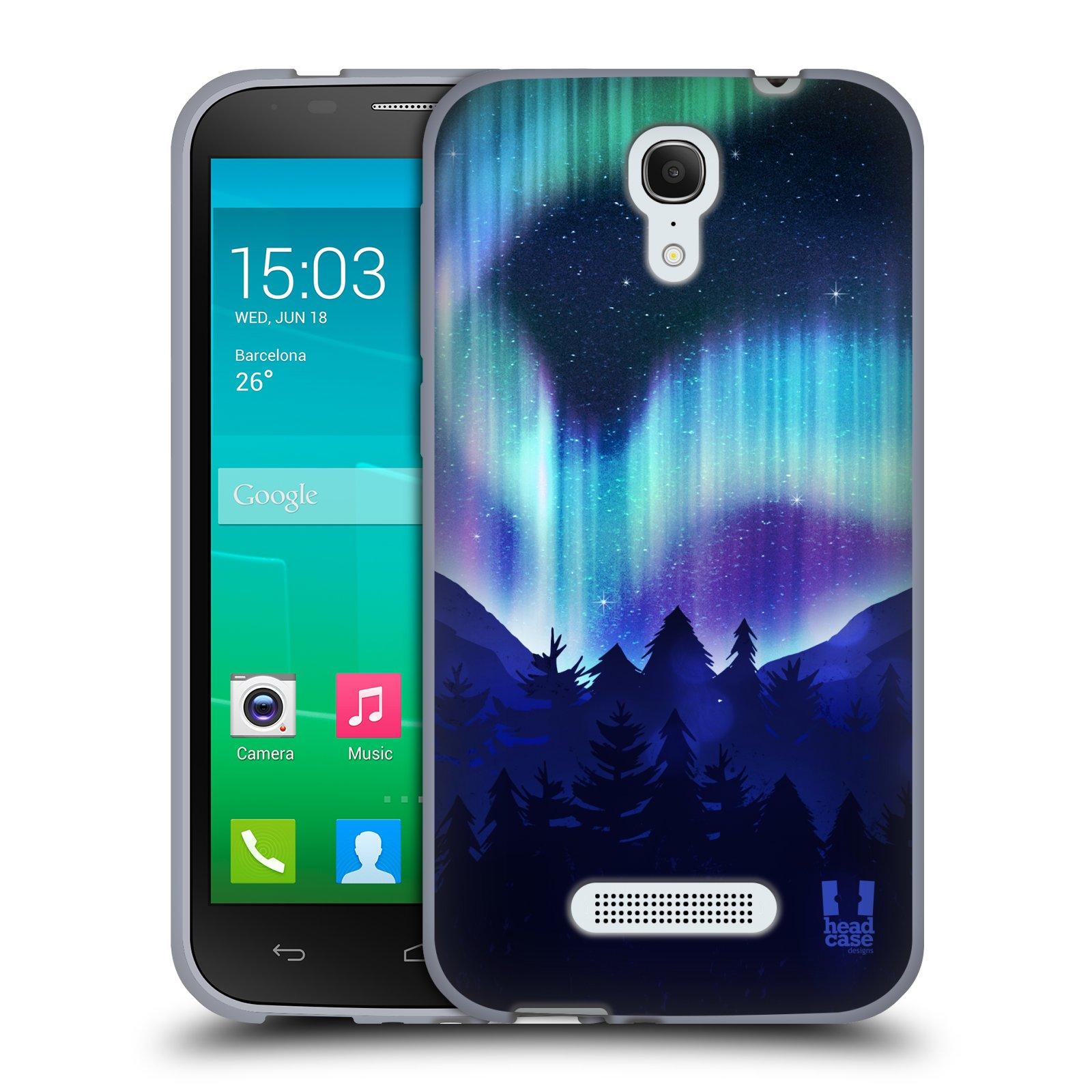HEAD CASE silikonový obal na mobil Alcatel POP S7 vzor Severní polární záře MODRÁ LES