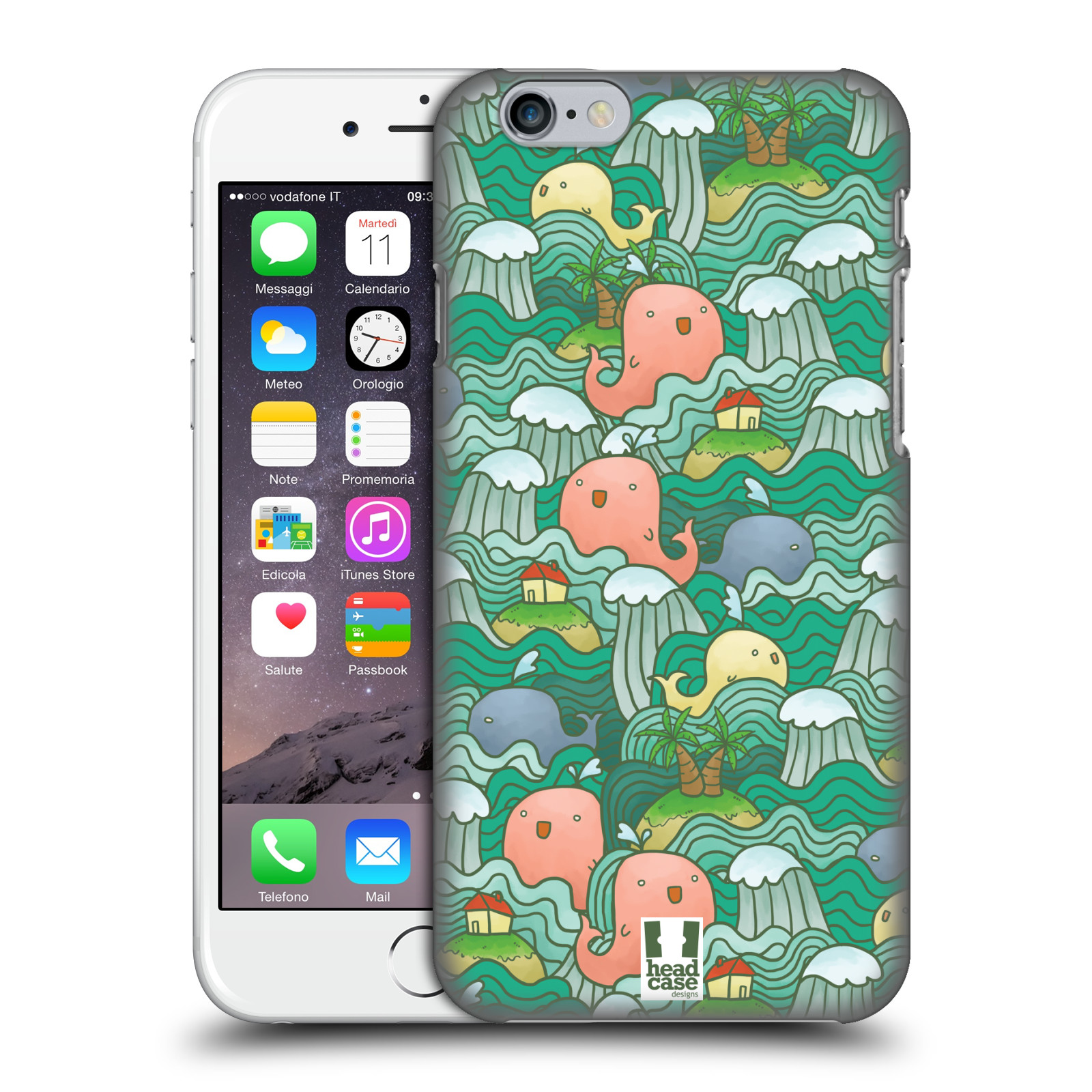 HEAD CASE DESIGNS OCEAN WAVE DOODLES HARD BACK CASE FOR APPLE iPHONE PHONES