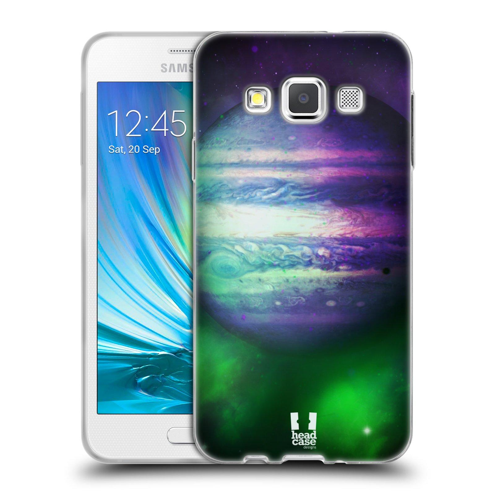 HEAD CASE silikonový obal na mobil Samsung Galaxy A3 vzor Vesmírná krása JUPITER MODRÁ