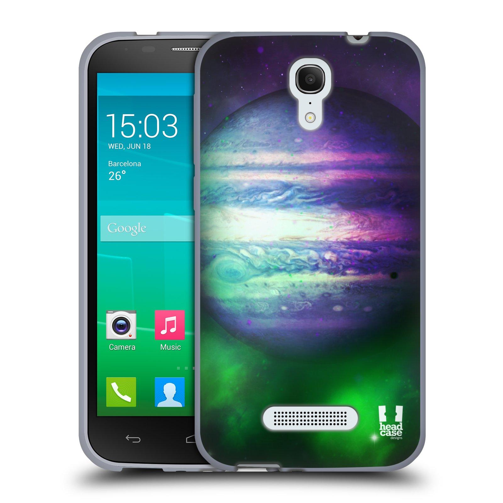 HEAD CASE silikonový obal na mobil Alcatel POP S7 vzor Vesmírná krása JUPITER MODRÁ
