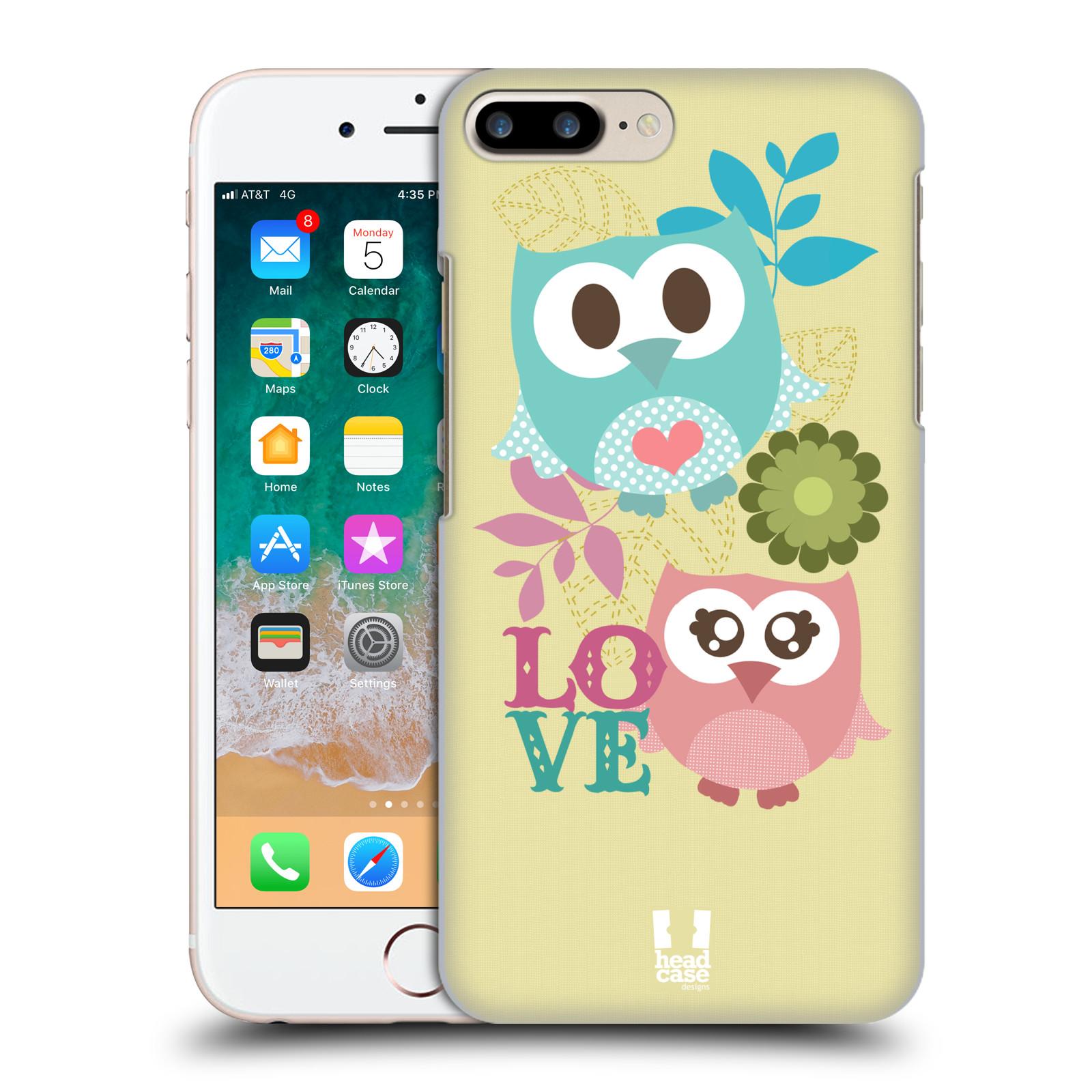 HEAD CASE plastový obal na mobil Apple Iphone 7 PLUS vzor Roztomilá sovička růžová a modrá LÁSKA/LOVE