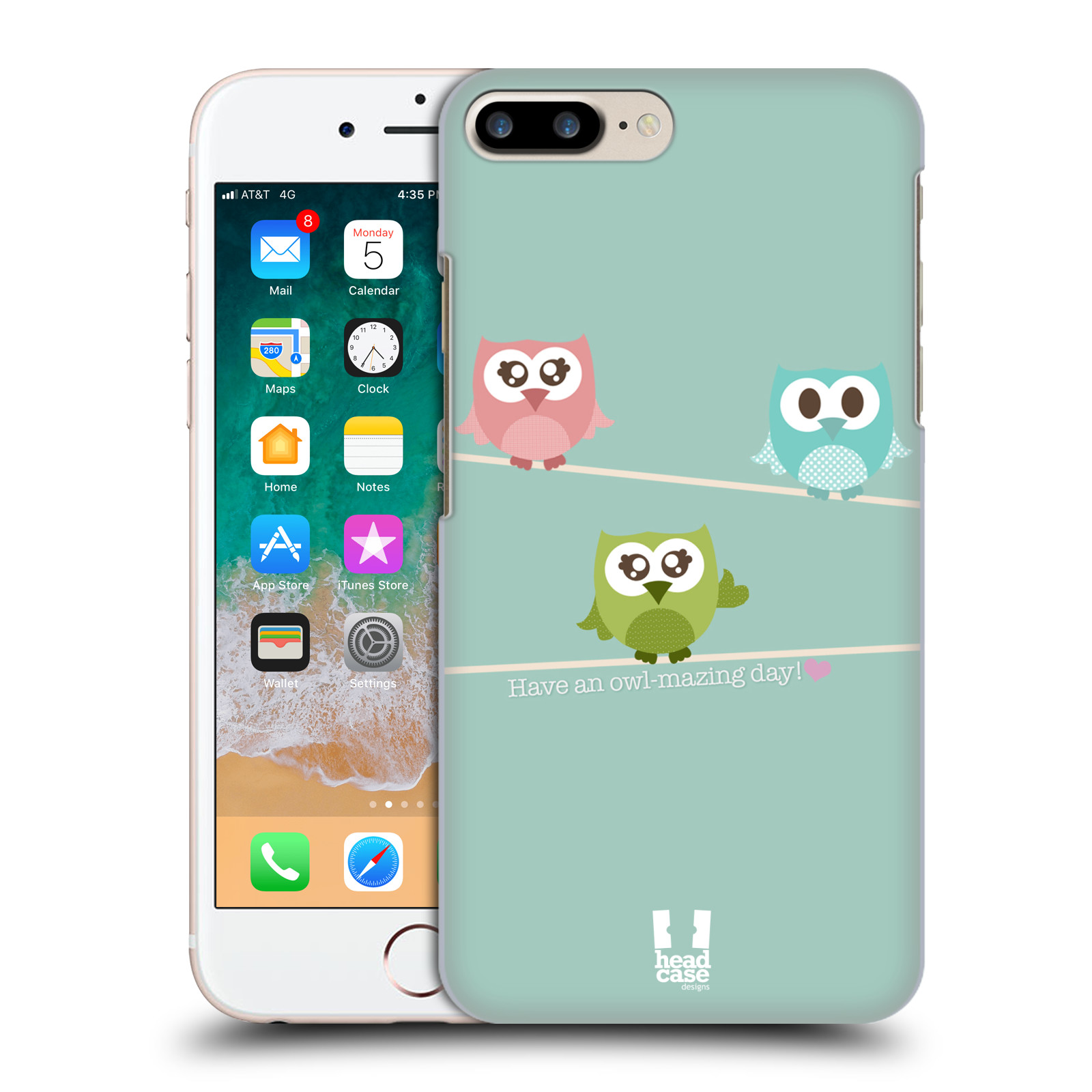 HEAD CASE plastový obal na mobil Apple Iphone 7 PLUS vzor Roztomilá sovička tři malé sovičky