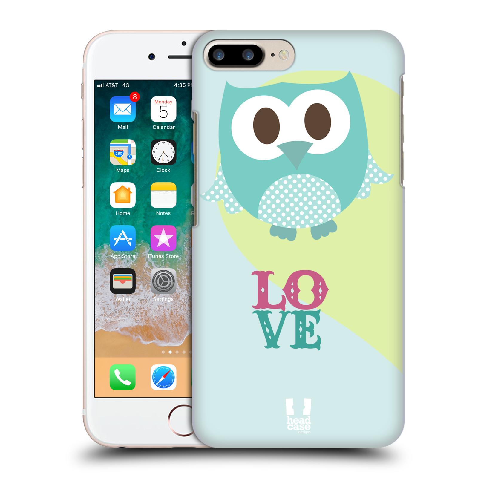 HEAD CASE plastový obal na mobil Apple Iphone 7 PLUS vzor Roztomilá sovička modrá LOVE/LÁSKA