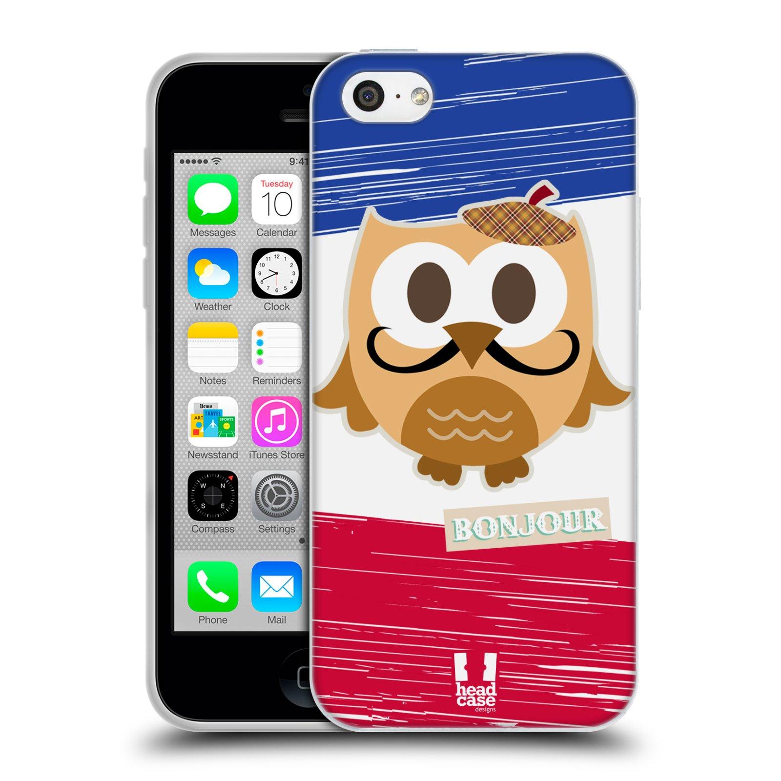 HEAD CASE silikonový obal na mobil Apple Iphone 5C vzor Roztomilá sovička Francie sovička