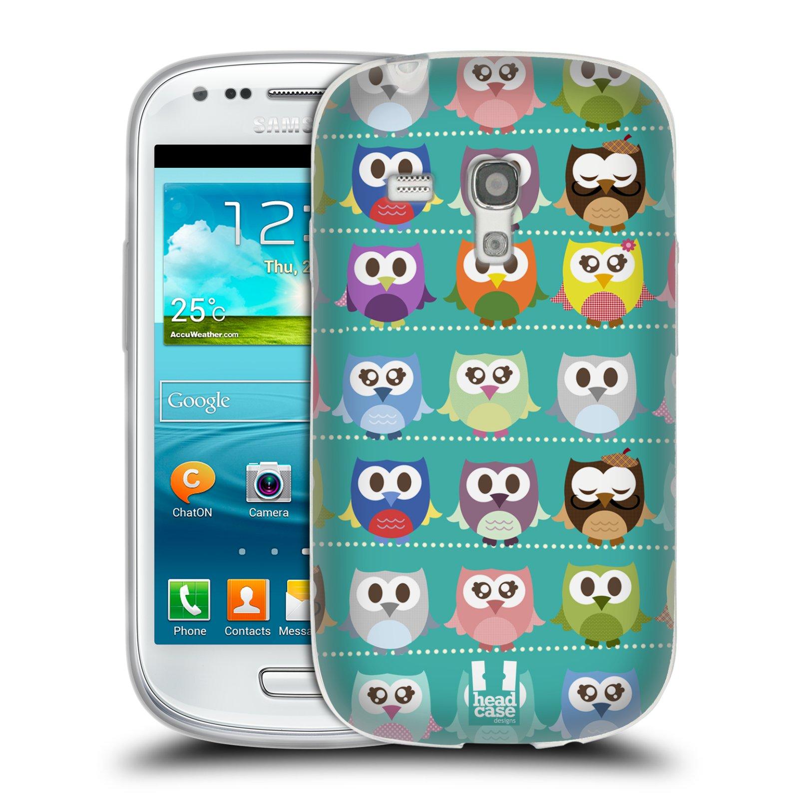 HEAD CASE silikonový obal na mobil Samsung Galaxy S3 MINI i8190 vzor Roztomilá sovička zelené sovičky