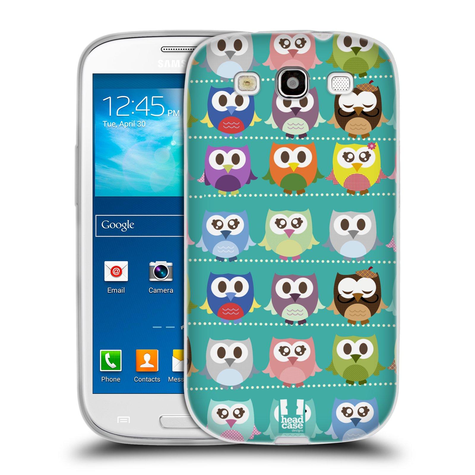 HEAD CASE silikonový obal na mobil Samsung Galaxy S3 i9300 vzor Roztomilá sovička zelené sovičky