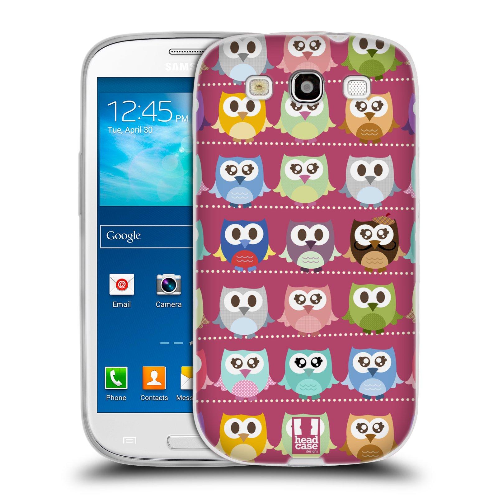 HEAD CASE silikonový obal na mobil Samsung Galaxy S3 i9300 vzor Roztomilá sovička růžové sovičky