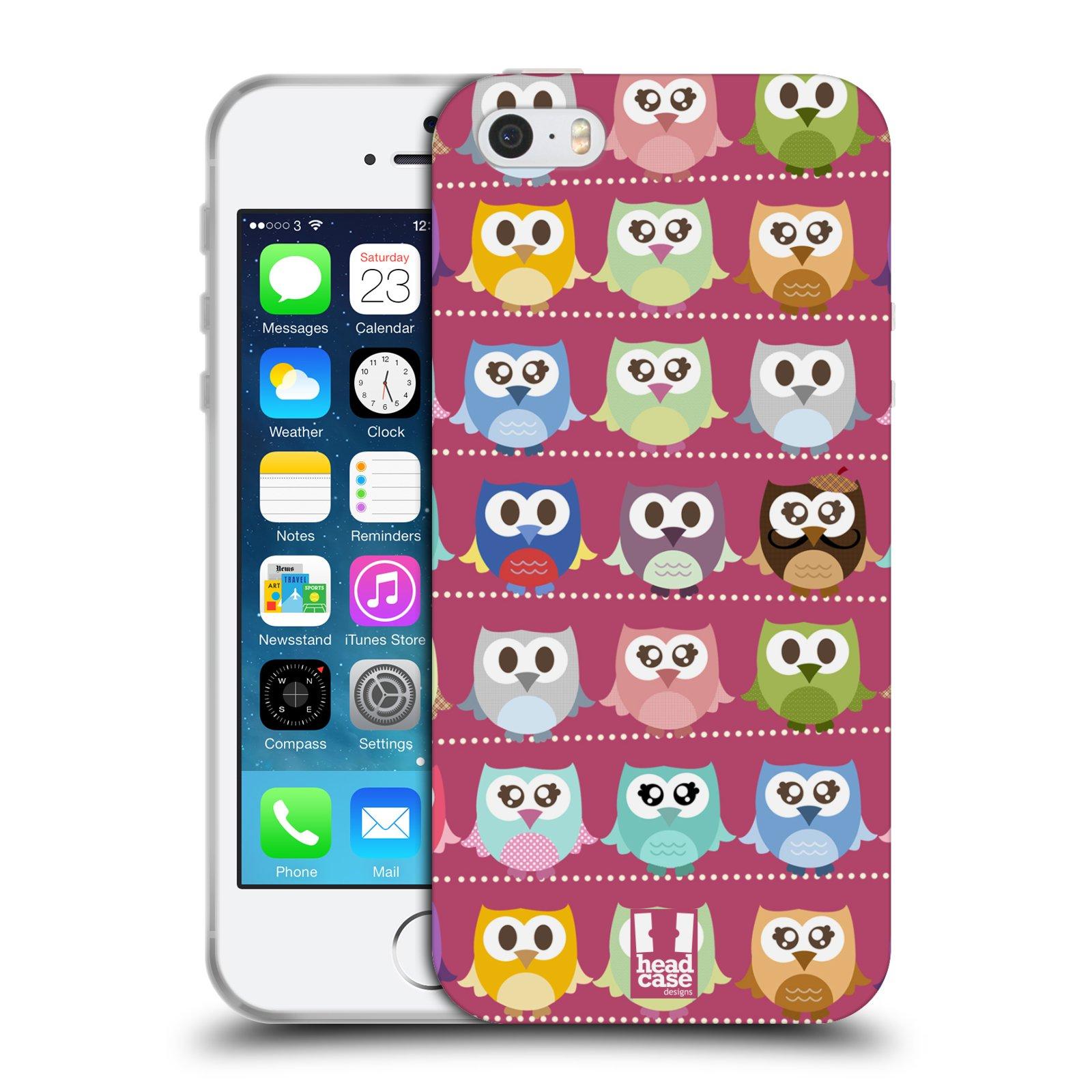 HEAD CASE silikonový obal na mobil Apple Iphone 5/5S vzor Roztomilá sovička růžové sovičky