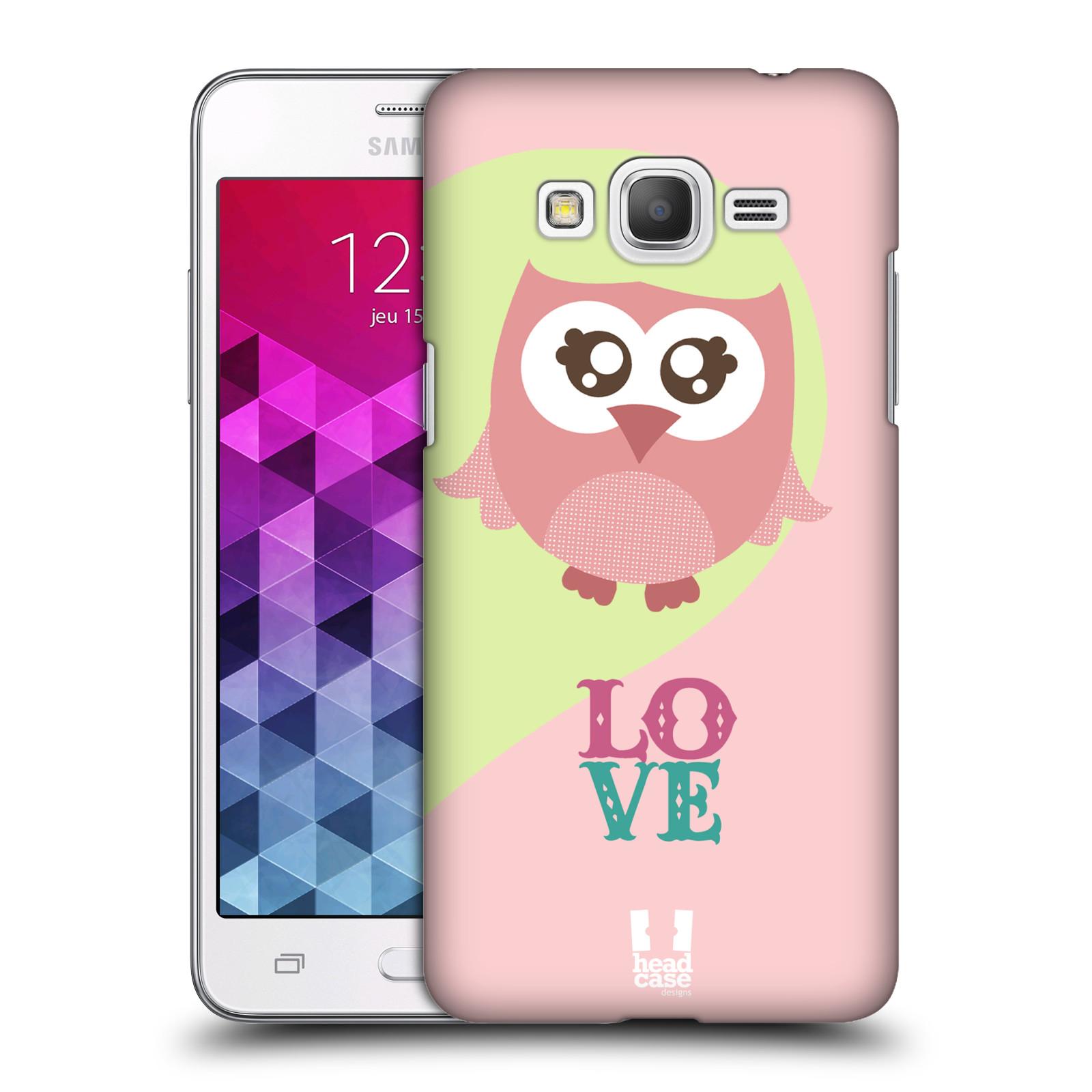 HEAD CASE plastový obal na mobil SAMSUNG GALAXY Grand Prime   Grand Prime  VE vzor Roztomilá sovička růžová LOVE LÁSKA 0ffc12e3c81
