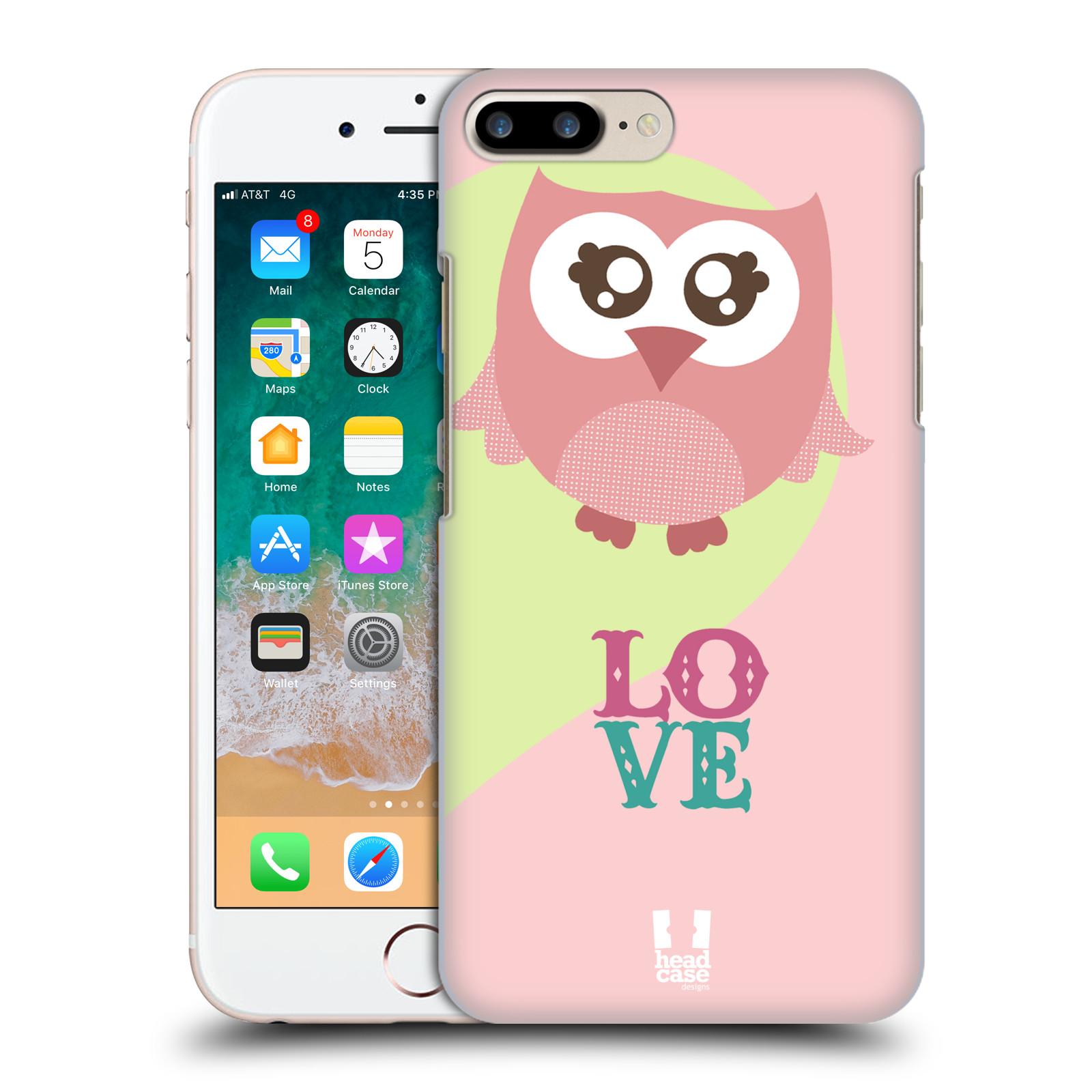 HEAD CASE plastový obal na mobil Apple Iphone 7 PLUS vzor Roztomilá sovička růžová LOVE/LÁSKA