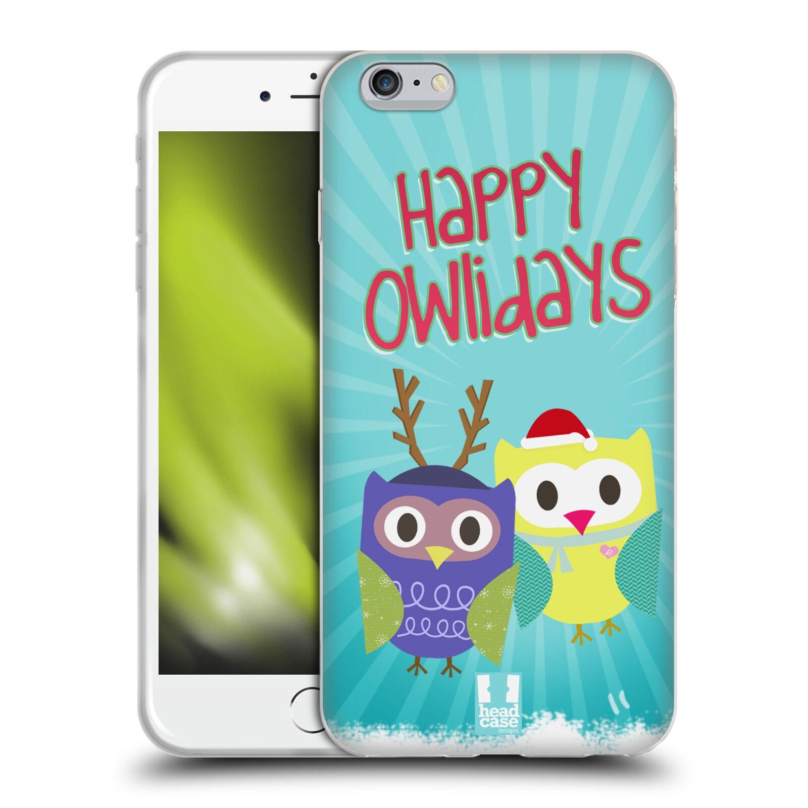 HEAD CASE silikonový obal na mobil Apple Iphone 6 PLUS/ 6S PLUS vzor Zimní sovičky modré pozadí