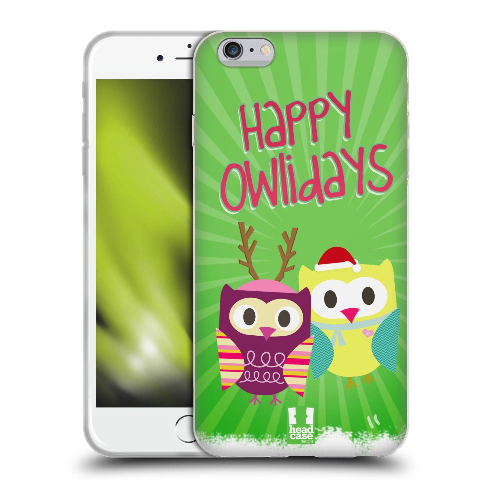 HEAD CASE silikonový obal na mobil Apple Iphone 6 PLUS/ 6S PLUS vzor Zimní sovičky zelená