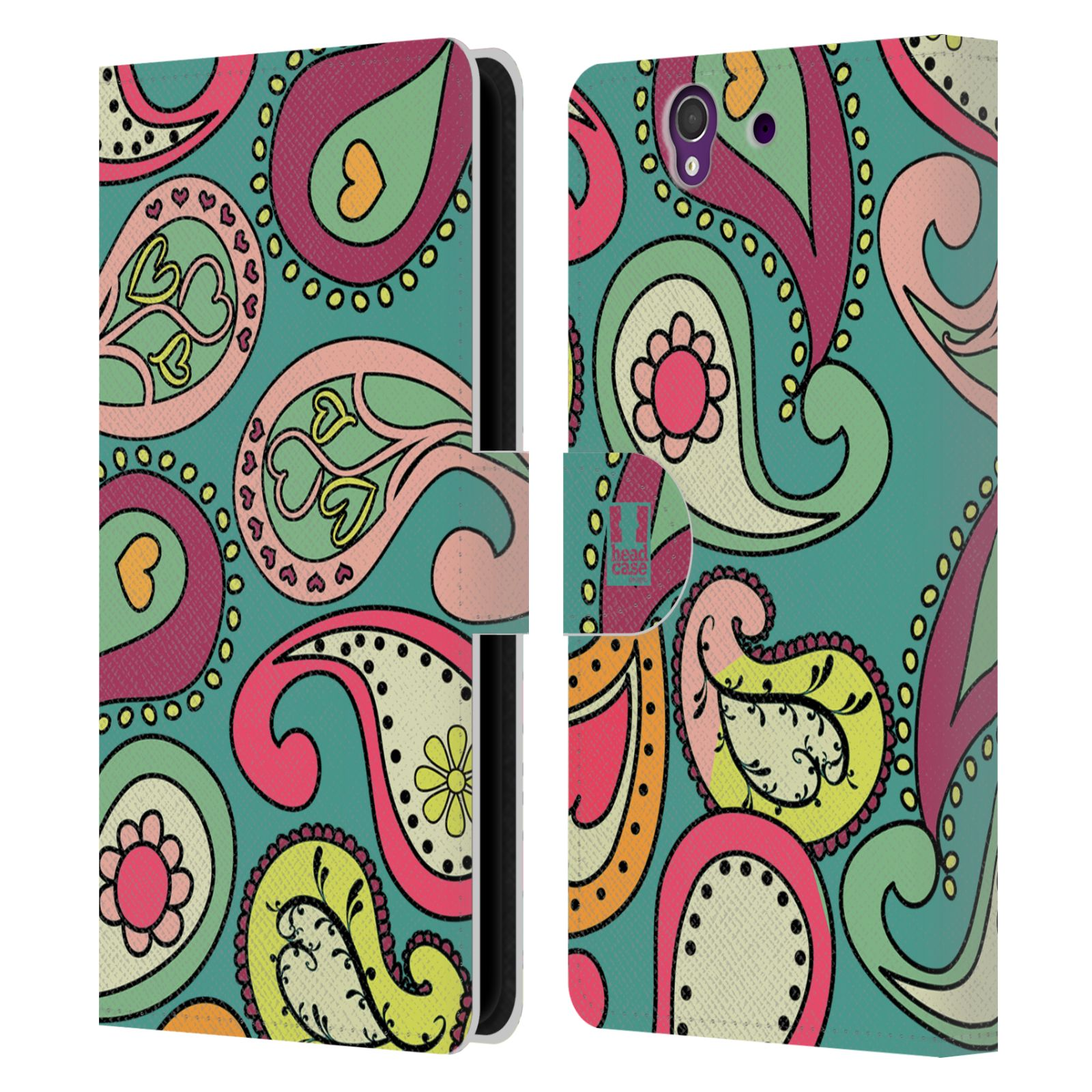 HEAD CASE Flipové pouzdro pro mobil SONY XPERIA Z (C6603) barevné slzy tyrkysová
