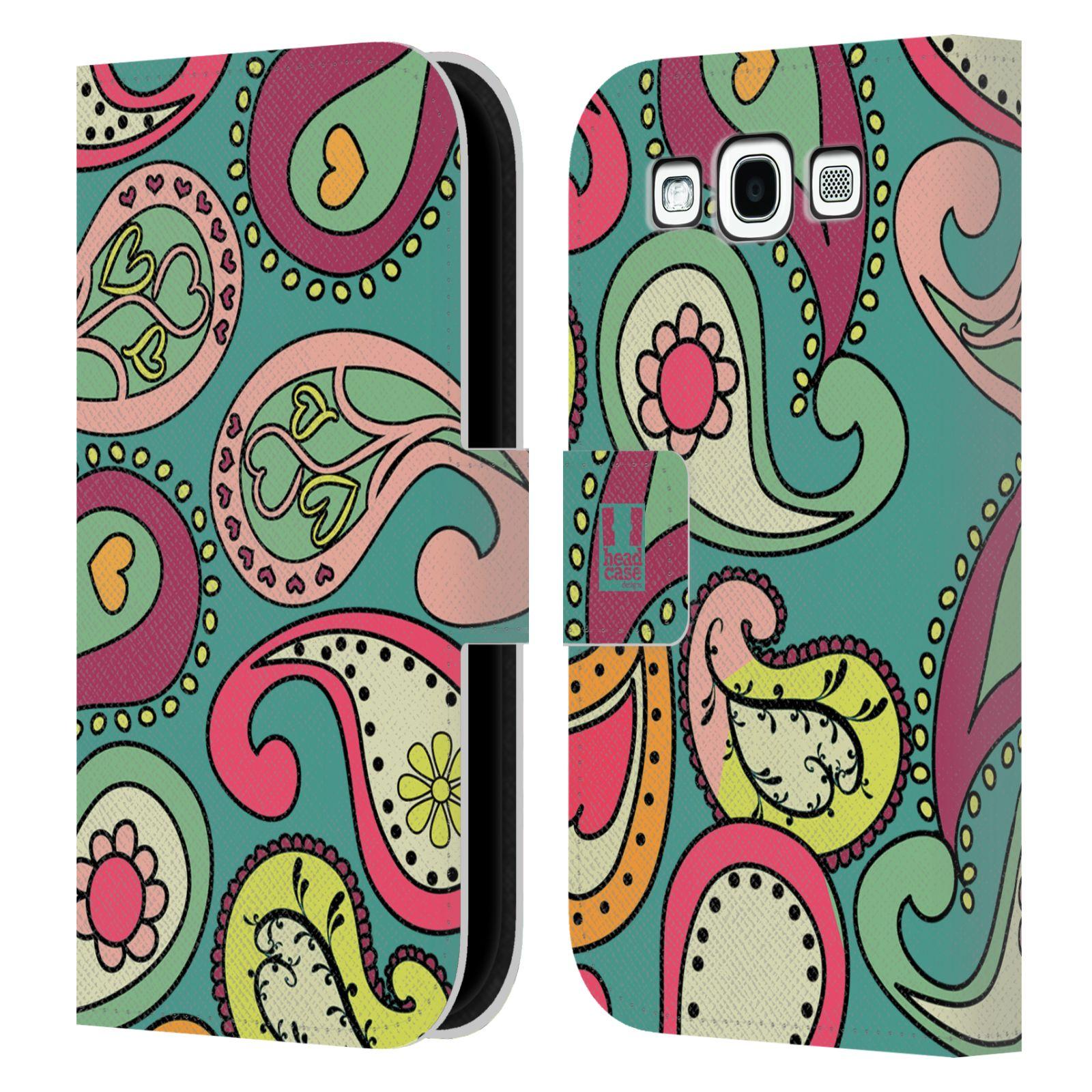 HEAD CASE Flipové pouzdro pro mobil Samsung Galaxy S3 barevné slzy tyrkysová