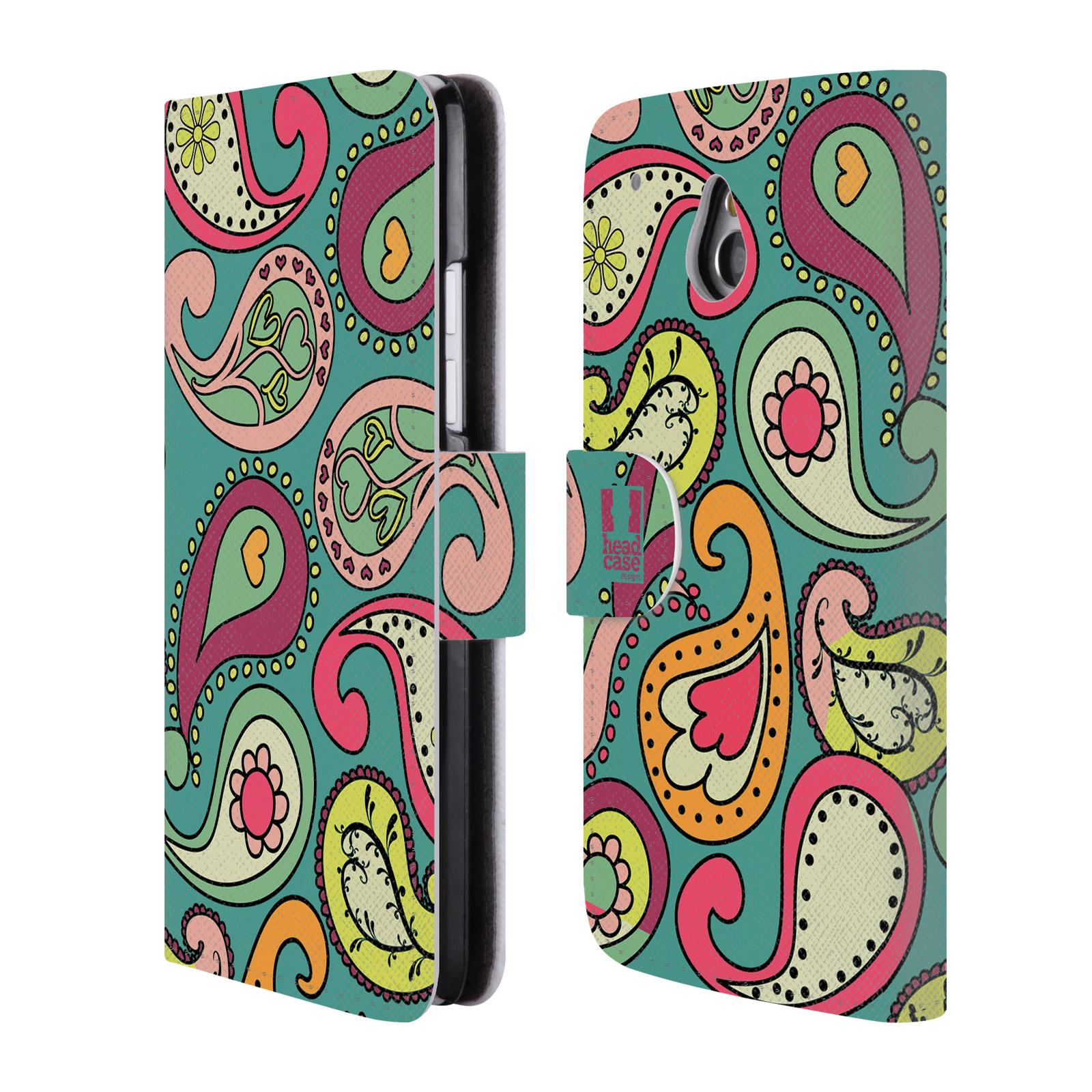 HEAD CASE Flipové pouzdro pro mobil HTC ONE MINI (M4) barevné slzy tyrkysová