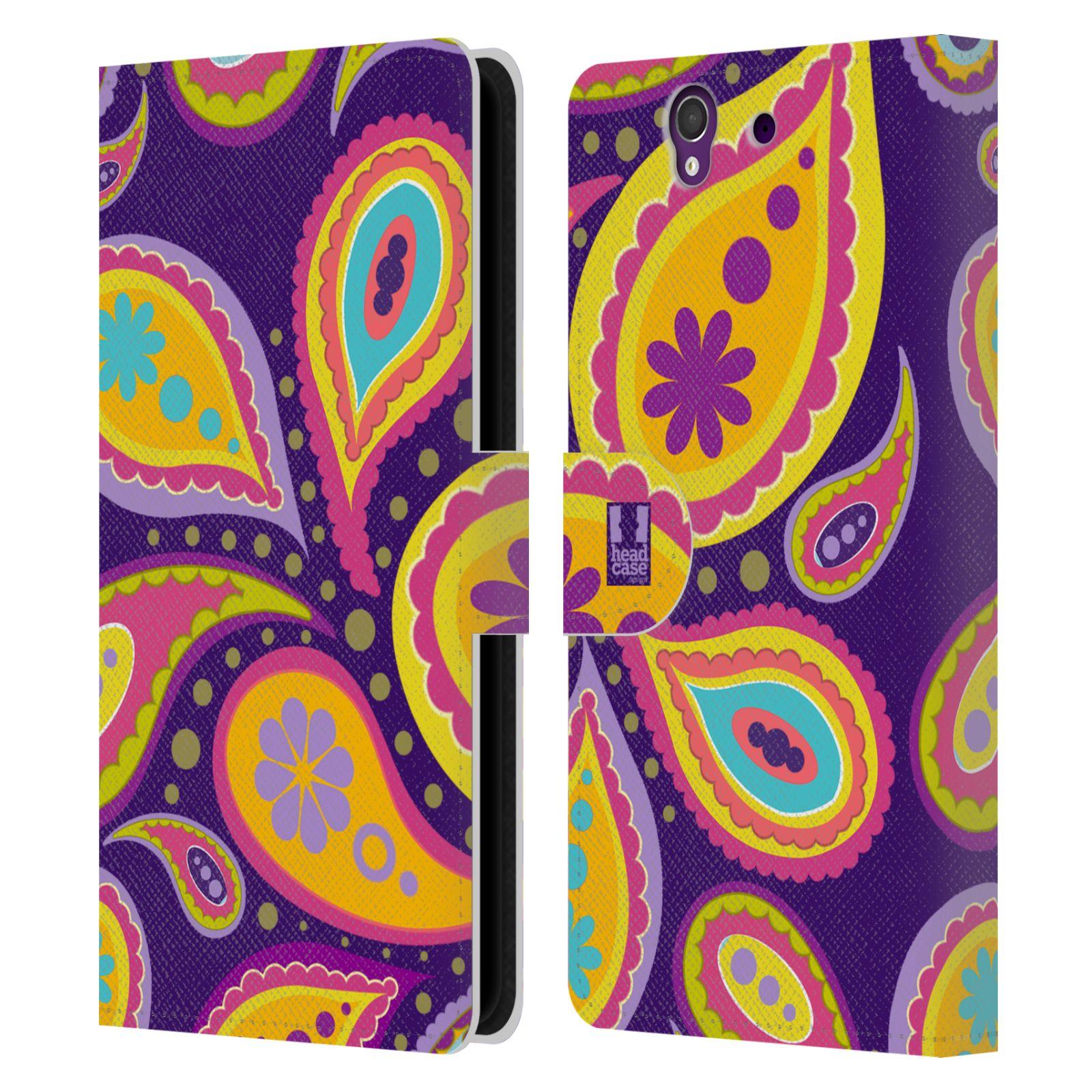 HEAD CASE Flipové pouzdro pro mobil SONY XPERIA Z (C6603) barevné slzy fialová a oranžová