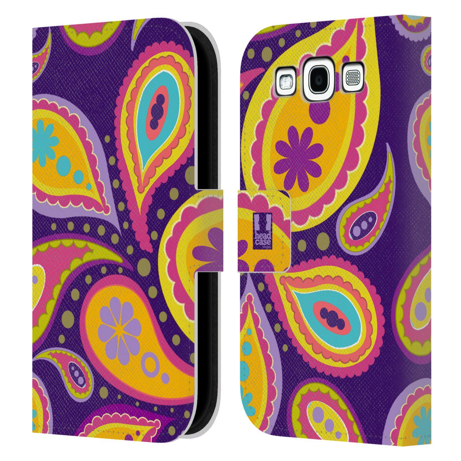 HEAD CASE Flipové pouzdro pro mobil Samsung Galaxy S3 barevné slzy fialová a oranžová