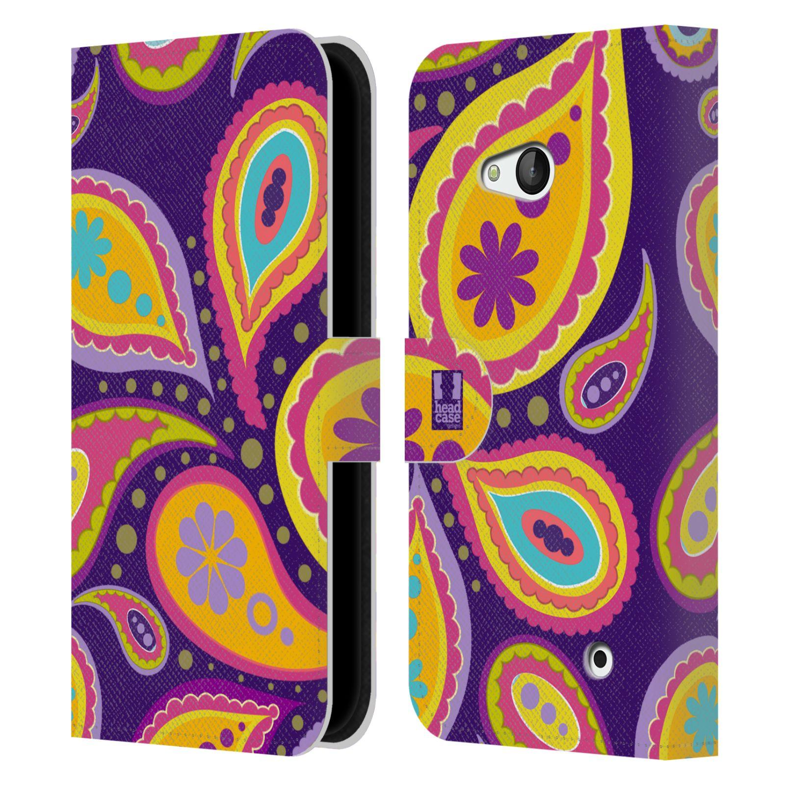 HEAD CASE Flipové pouzdro pro mobil NOKIA / MICROSOFT LUMIA 640 / LUMIA 640 DUAL barevné slzy fialová a oranžová
