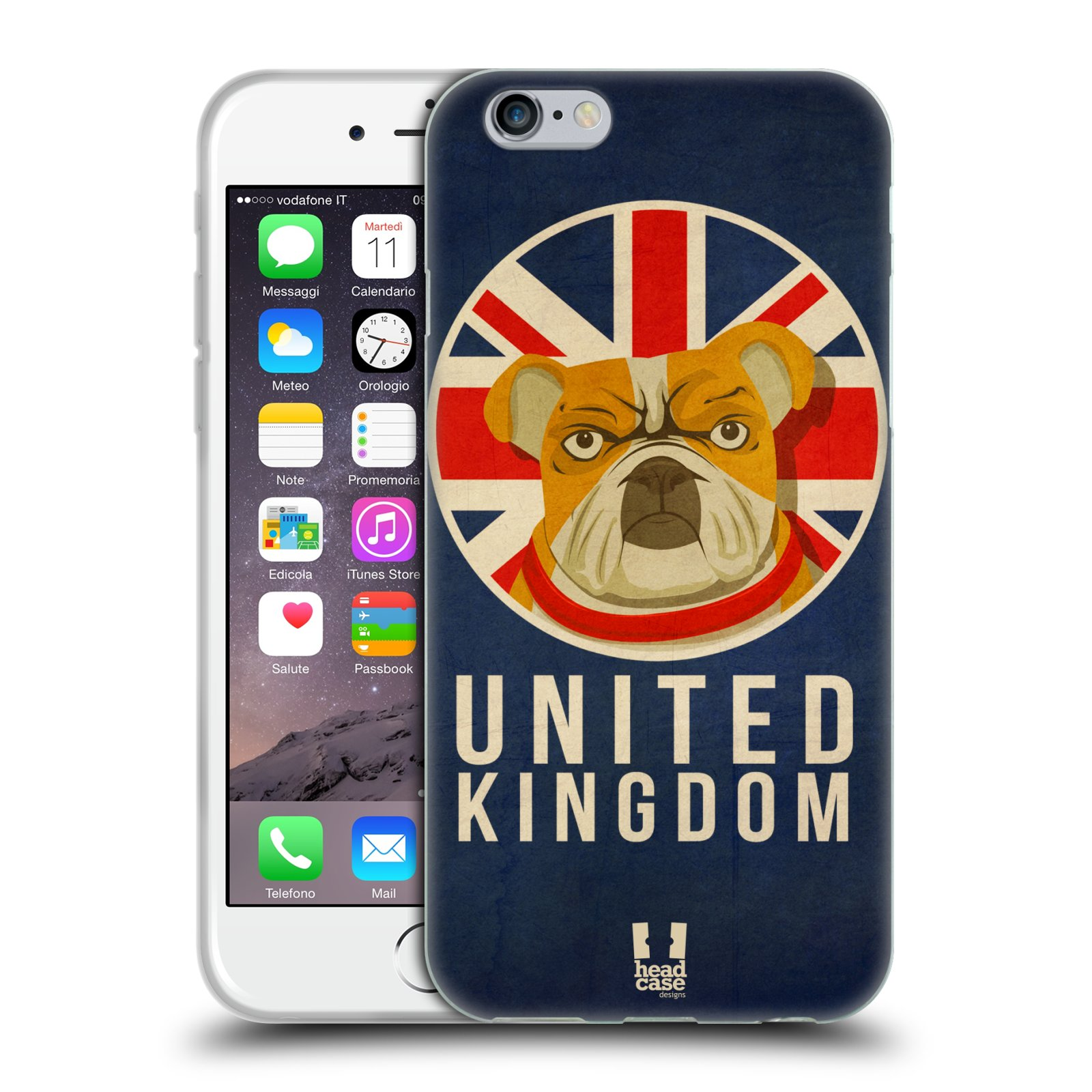 HEAD CASE silikonový obal na mobil Apple Iphone 6/6S vzor Patriotismus zvíře symbol Buldok UK