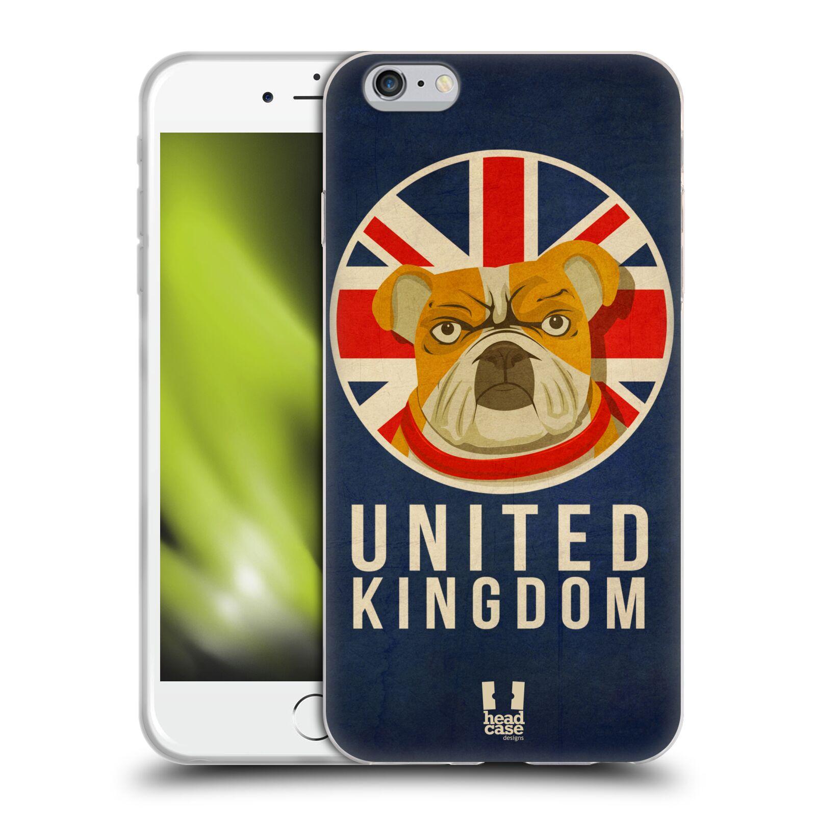 HEAD CASE silikonový obal na mobil Apple Iphone 6 PLUS/ 6S PLUS vzor Patriotismus zvíře symbol Buldok UK