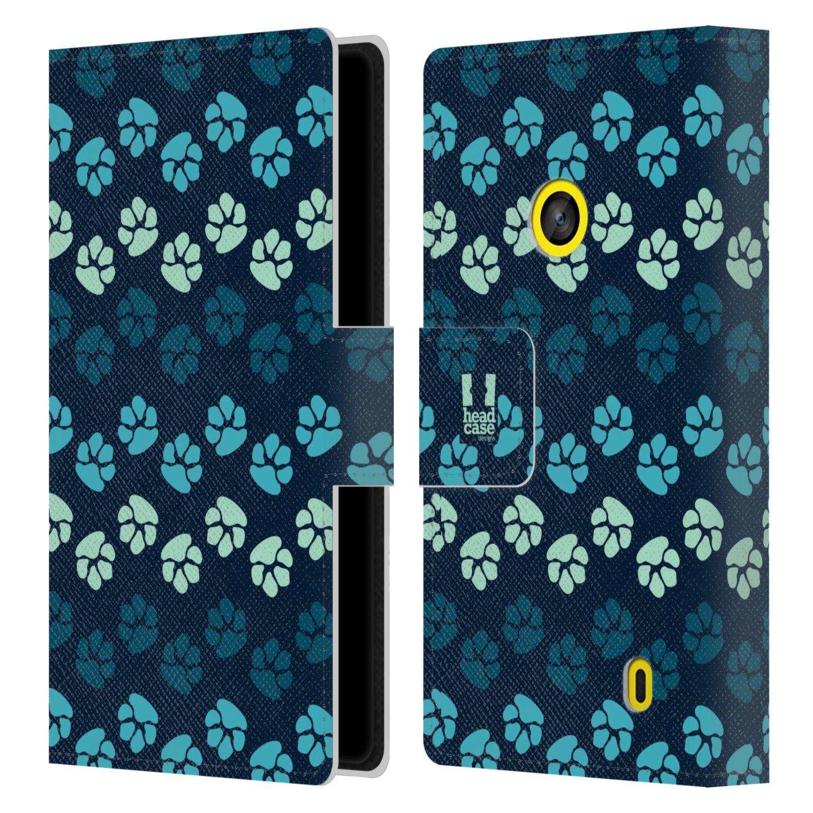 HEAD CASE Flipové pouzdro pro mobil NOKIA LUMIA 520 / 525 Pejsek ťapky modrá barva