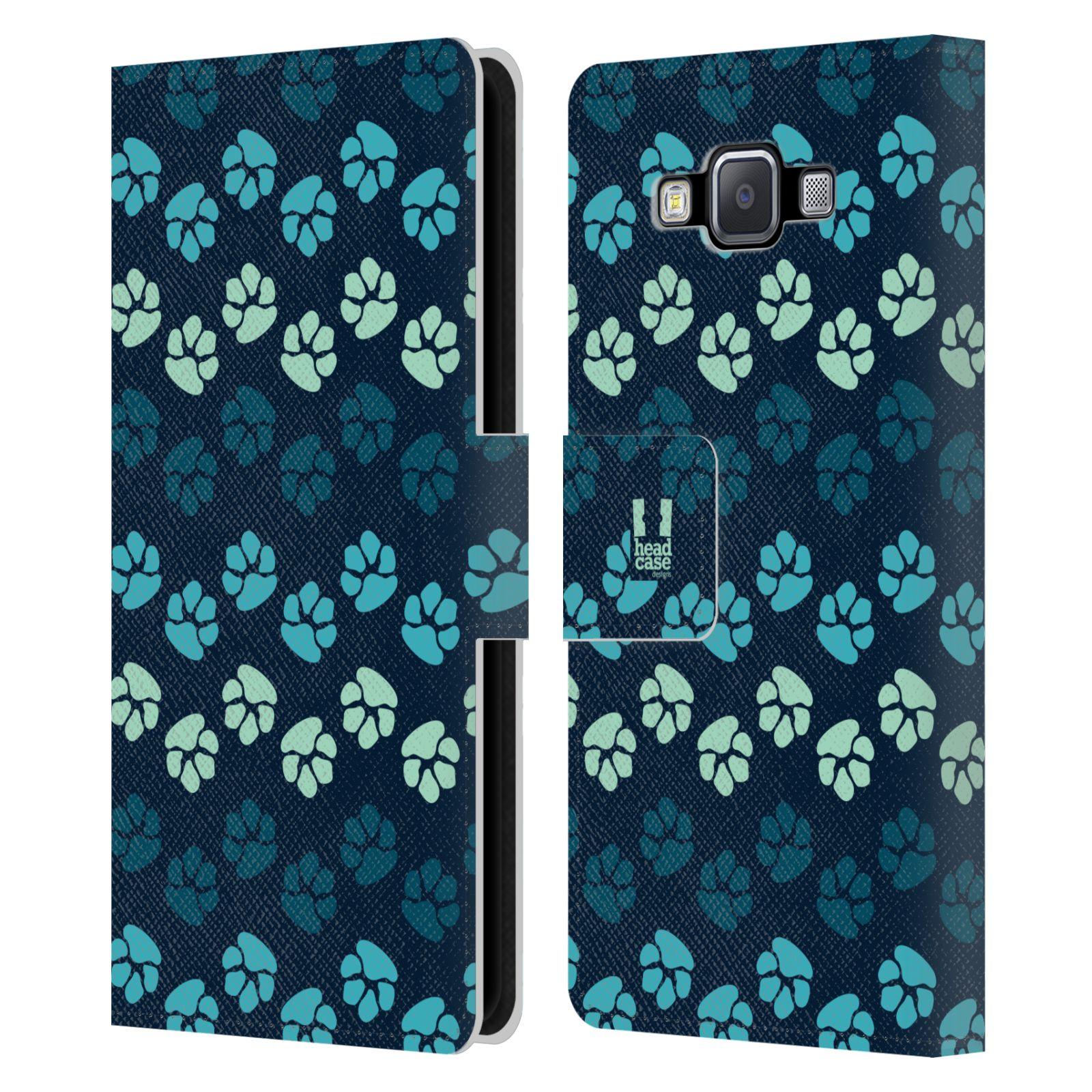 HEAD CASE Flipové pouzdro pro mobil Samsung Galaxy A5 Pejsek ťapky modrá barva