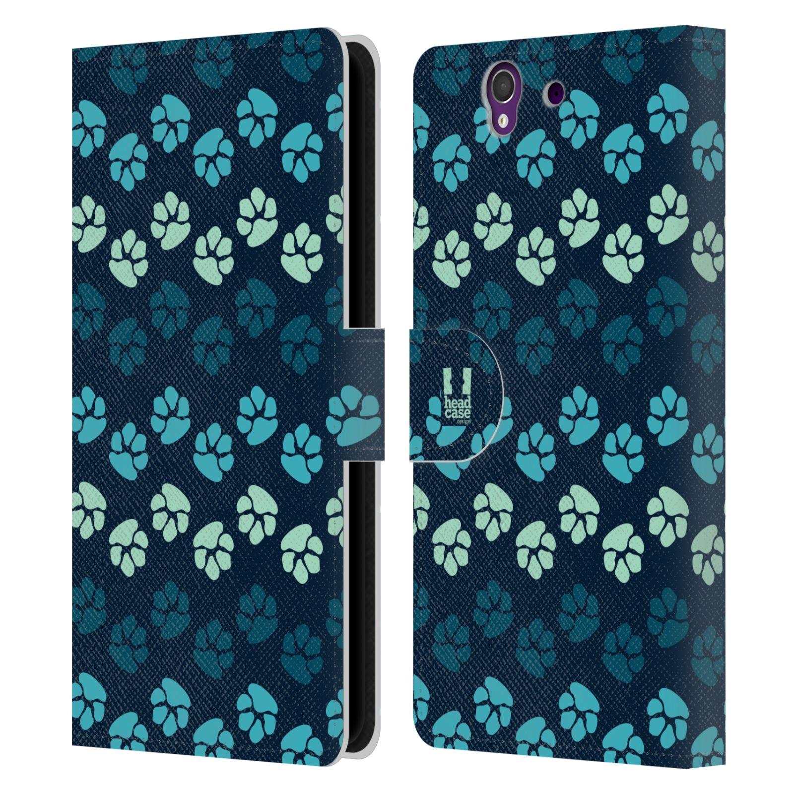 HEAD CASE Flipové pouzdro pro mobil SONY XPERIA Z (C6603) Pejsek ťapky modrá barva