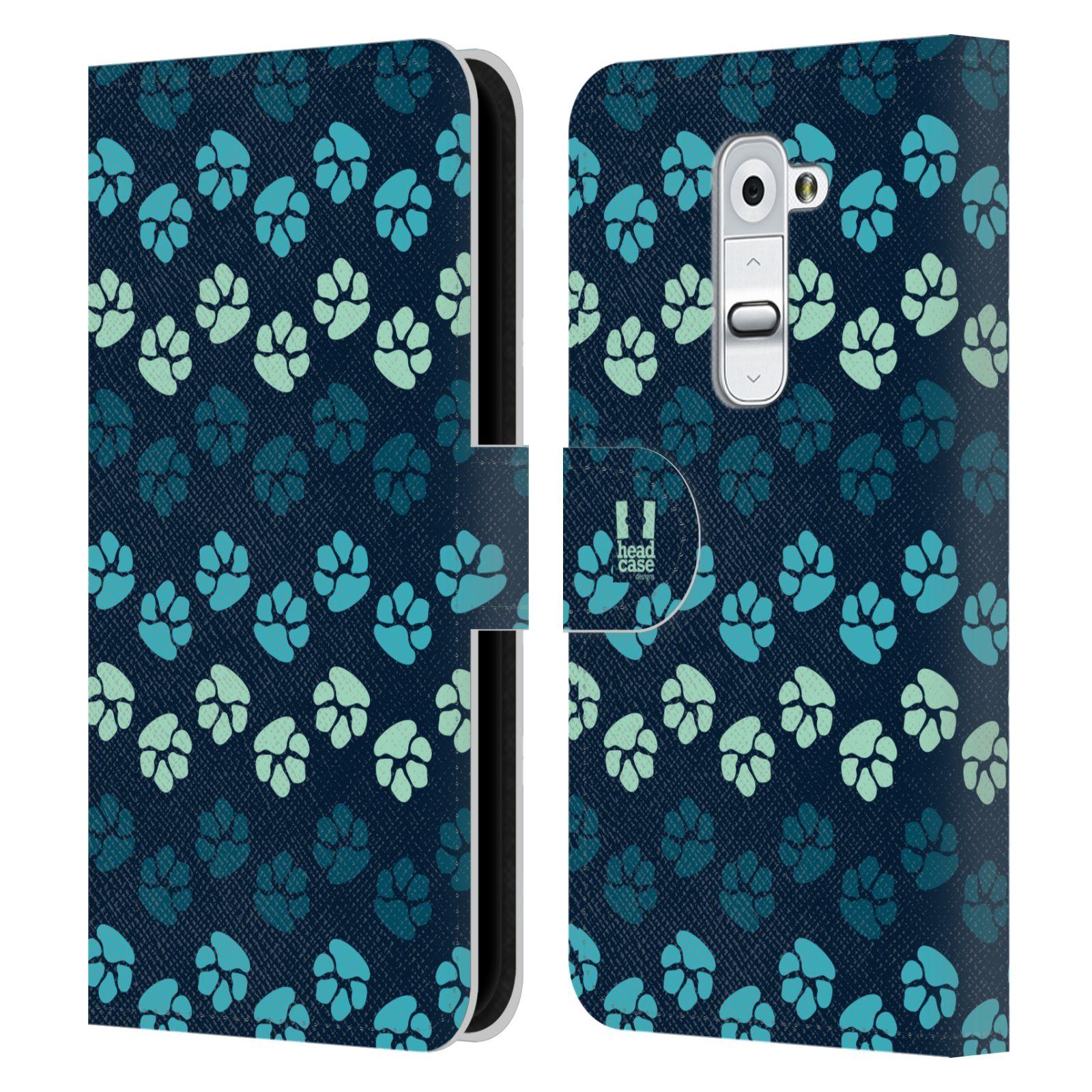 HEAD CASE Flipové pouzdro pro mobil LG G2 (D802) Pejsek ťapky modrá barva