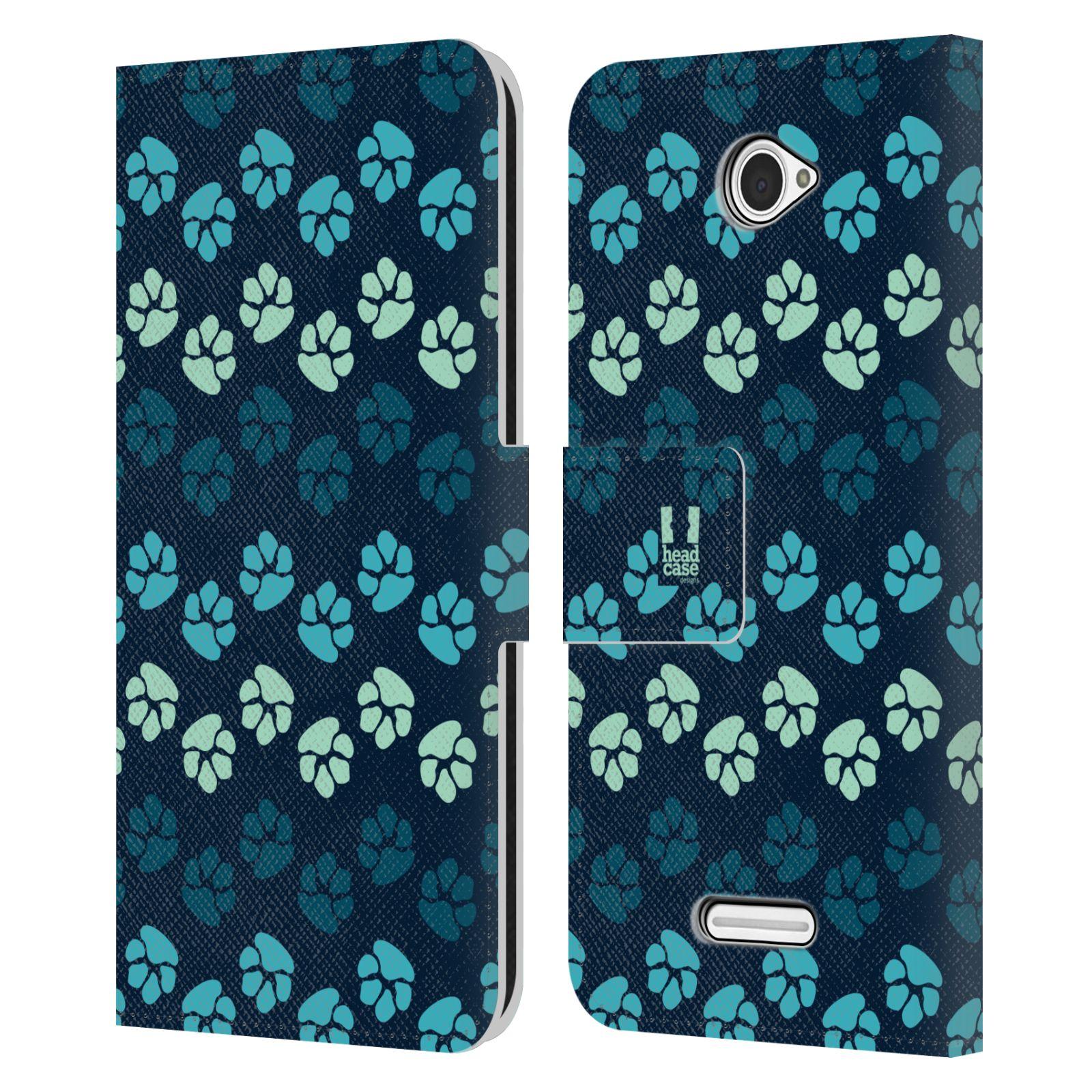 HEAD CASE Flipové pouzdro pro mobil SONY XPERIA E4 Pejsek ťapky modrá barva