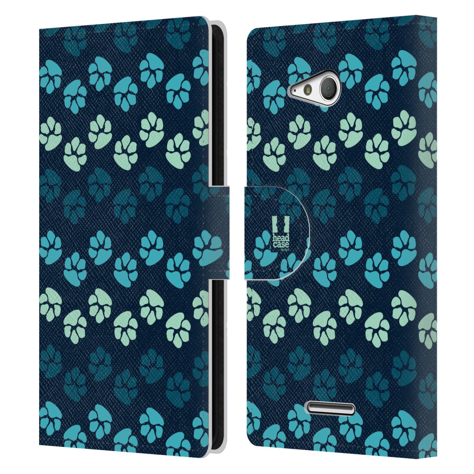 HEAD CASE Flipové pouzdro pro mobil SONY XPERIA E4g Pejsek ťapky modrá barva