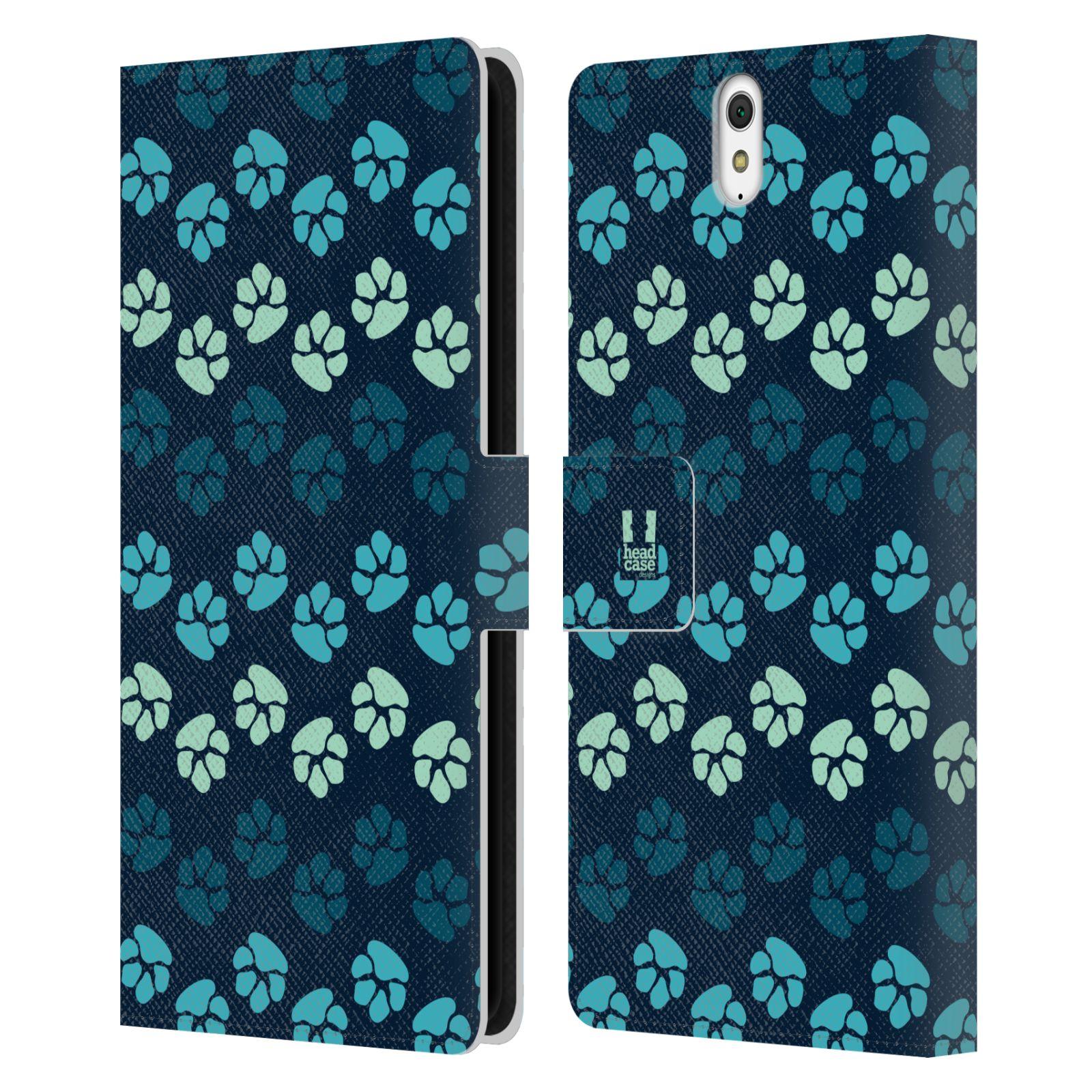 HEAD CASE Flipové pouzdro pro mobil SONY XPERIA C5 Ultra Pejsek ťapky modrá barva