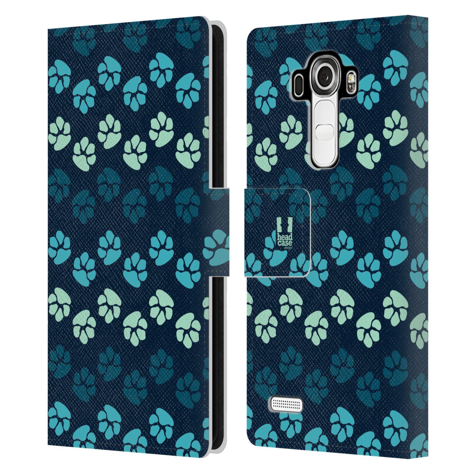 HEAD CASE Flipové pouzdro pro mobil LG G4 (H815) Pejsek ťapky modrá barva
