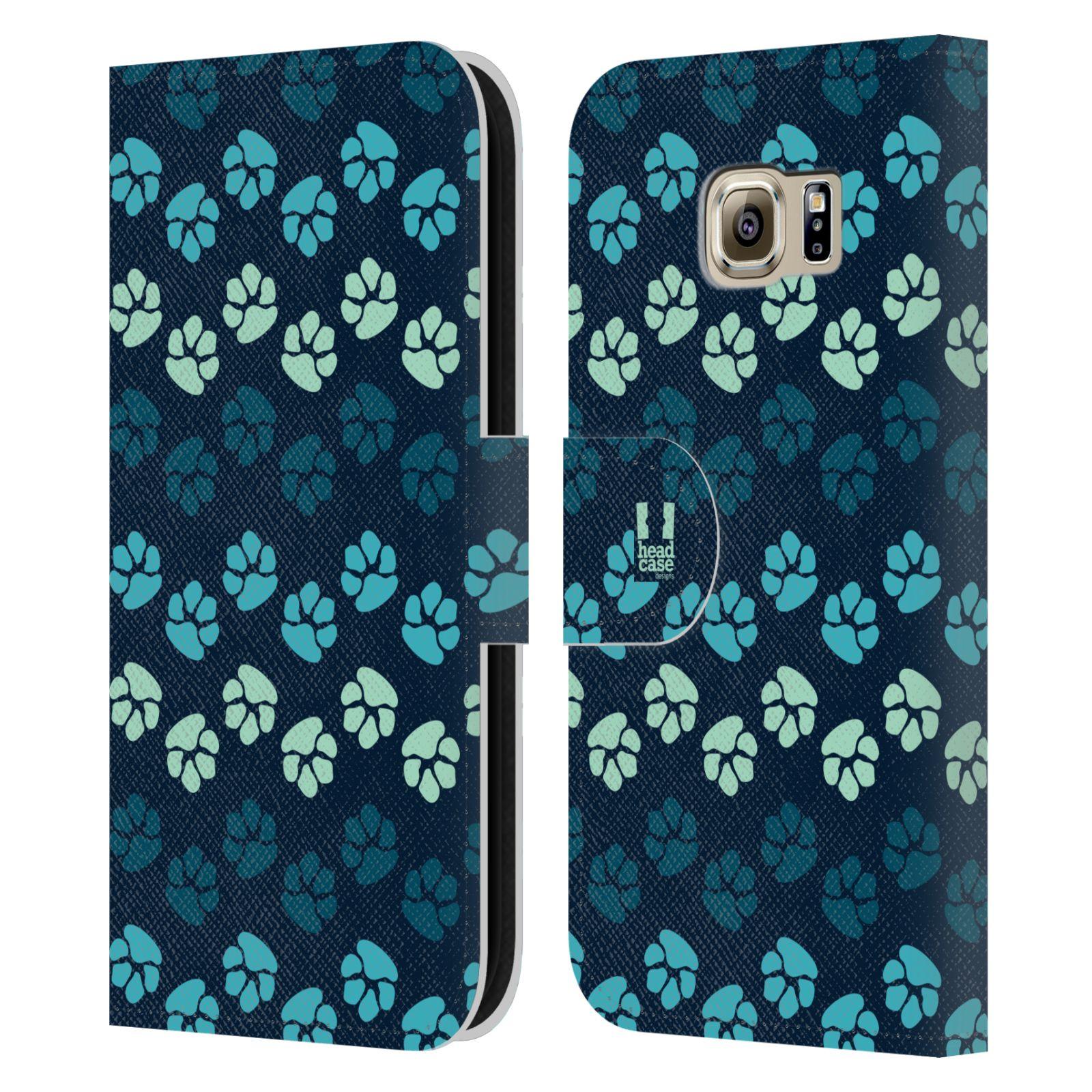 HEAD CASE Flipové pouzdro pro mobil Samsung Galaxy S6 (G9200) Pejsek ťapky modrá barva