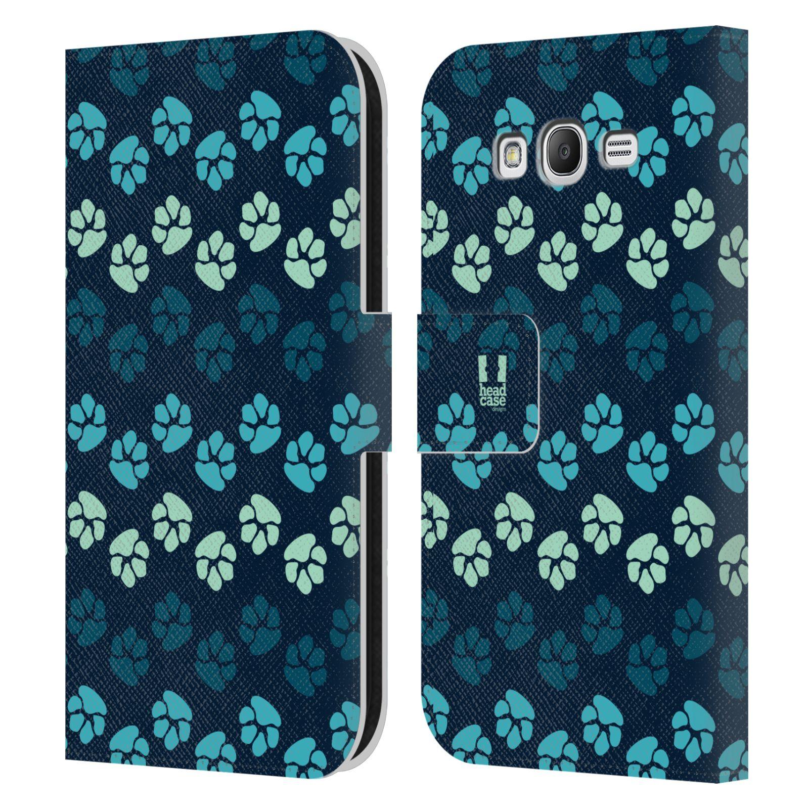 HEAD CASE Flipové pouzdro pro mobil Samsung Galaxy Grand i9080 Pejsek ťapky modrá barva