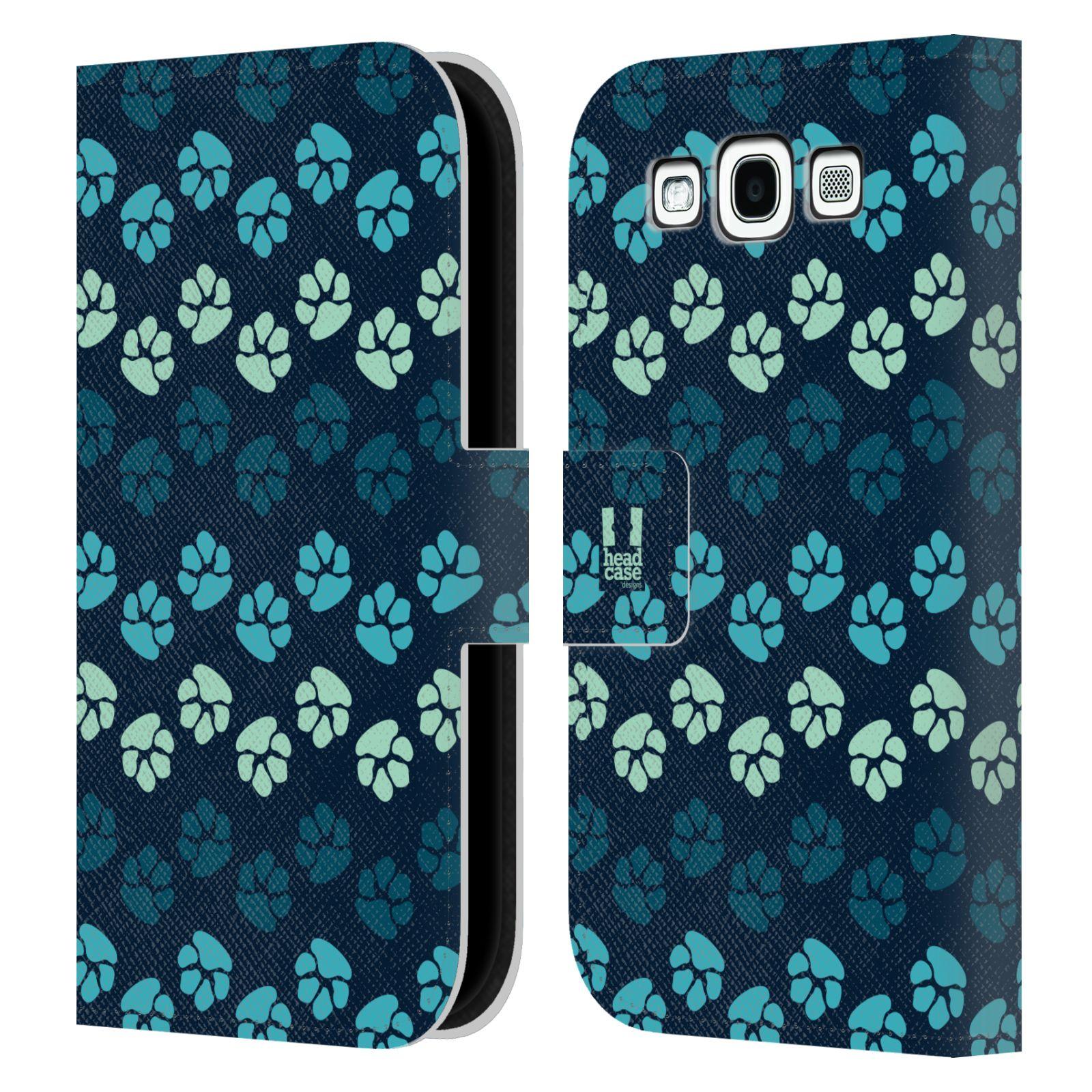 HEAD CASE Flipové pouzdro pro mobil Samsung Galaxy S3 Pejsek ťapky modrá barva