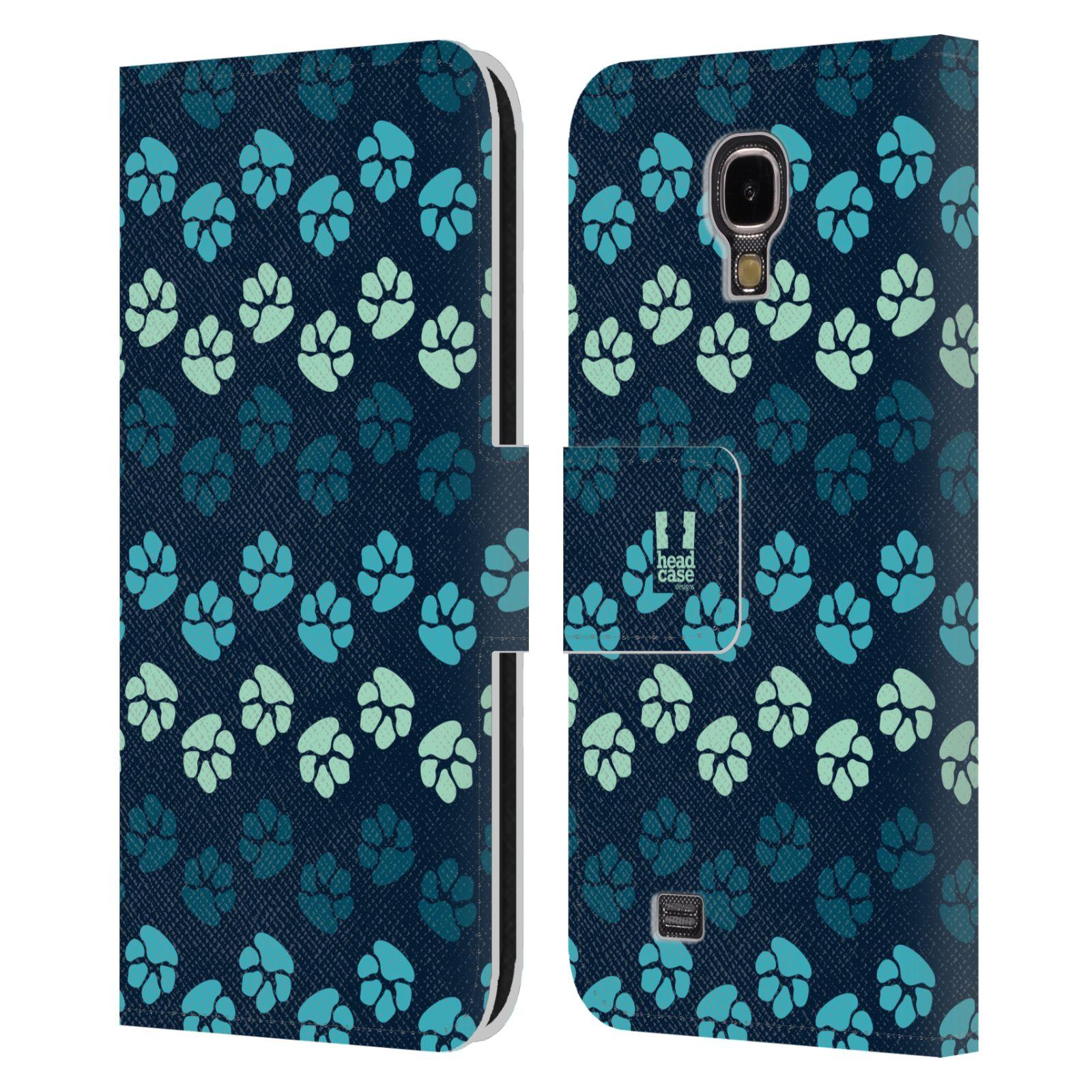 HEAD CASE Flipové pouzdro pro mobil Samsung Galaxy S4 Pejsek ťapky modrá barva