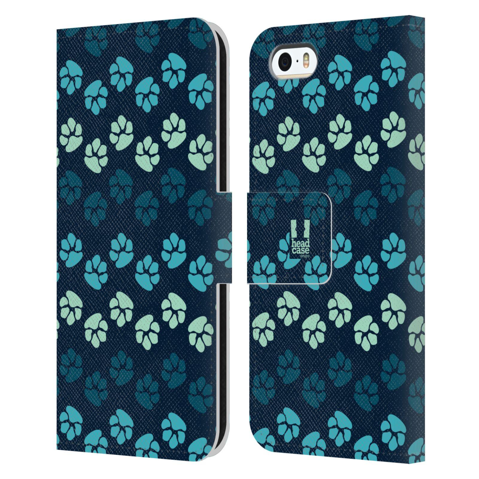 HEAD CASE Flipové pouzdro pro mobil Apple Iphone 5/5s Pejsek ťapky modrá barva