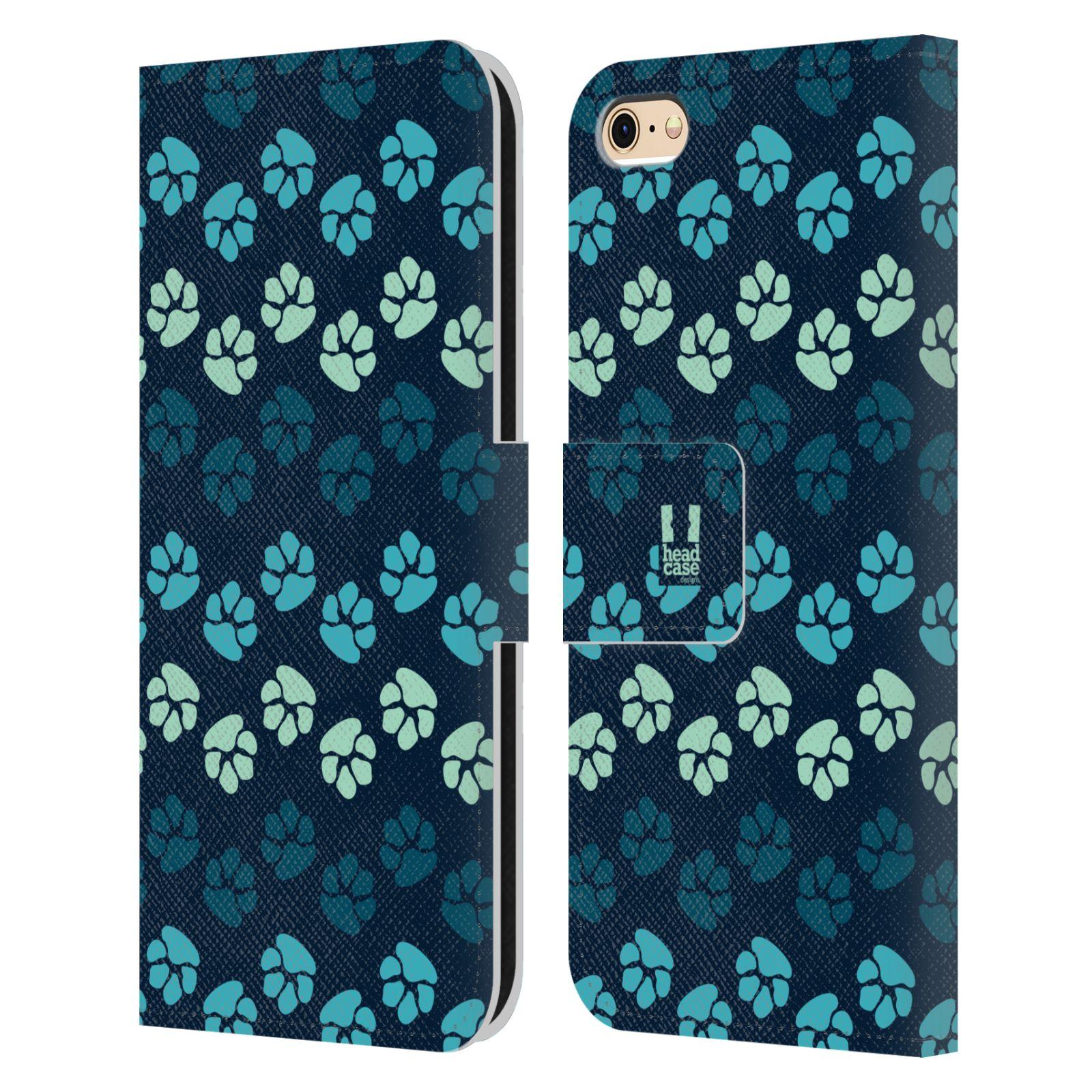 HEAD CASE Flipové pouzdro pro mobil Apple Iphone 6/6s Pejsek ťapky modrá barva