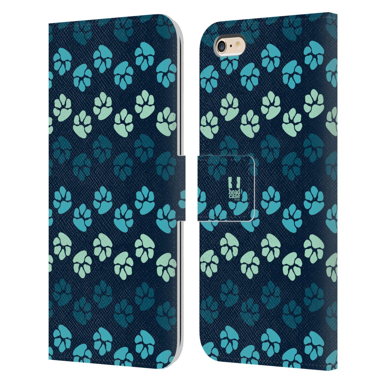 HEAD CASE Flipové pouzdro pro mobil Apple Iphone 6 PLUS / 6S PLUS Pejsek ťapky modrá barva