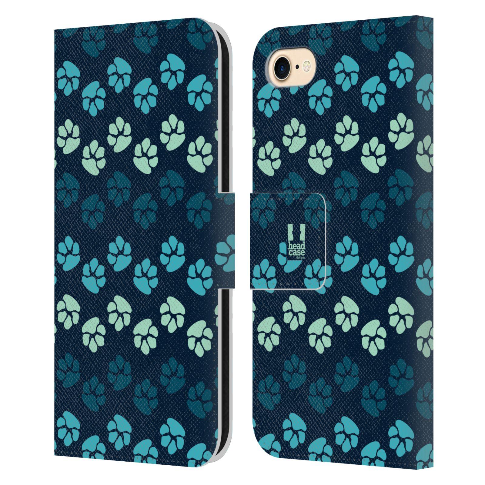 HEAD CASE Flipové pouzdro pro mobil Apple Iphone 7/8 Pejsek ťapky modrá barva