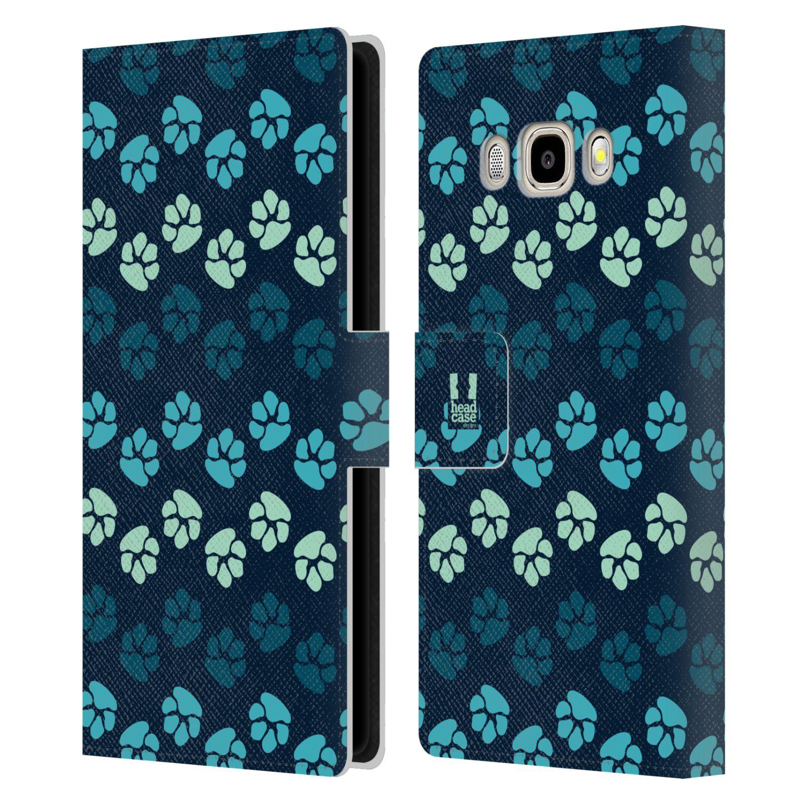 HEAD CASE Flipové pouzdro pro mobil Samsung Galaxy J5 2016 Pejsek ťapky modrá barva
