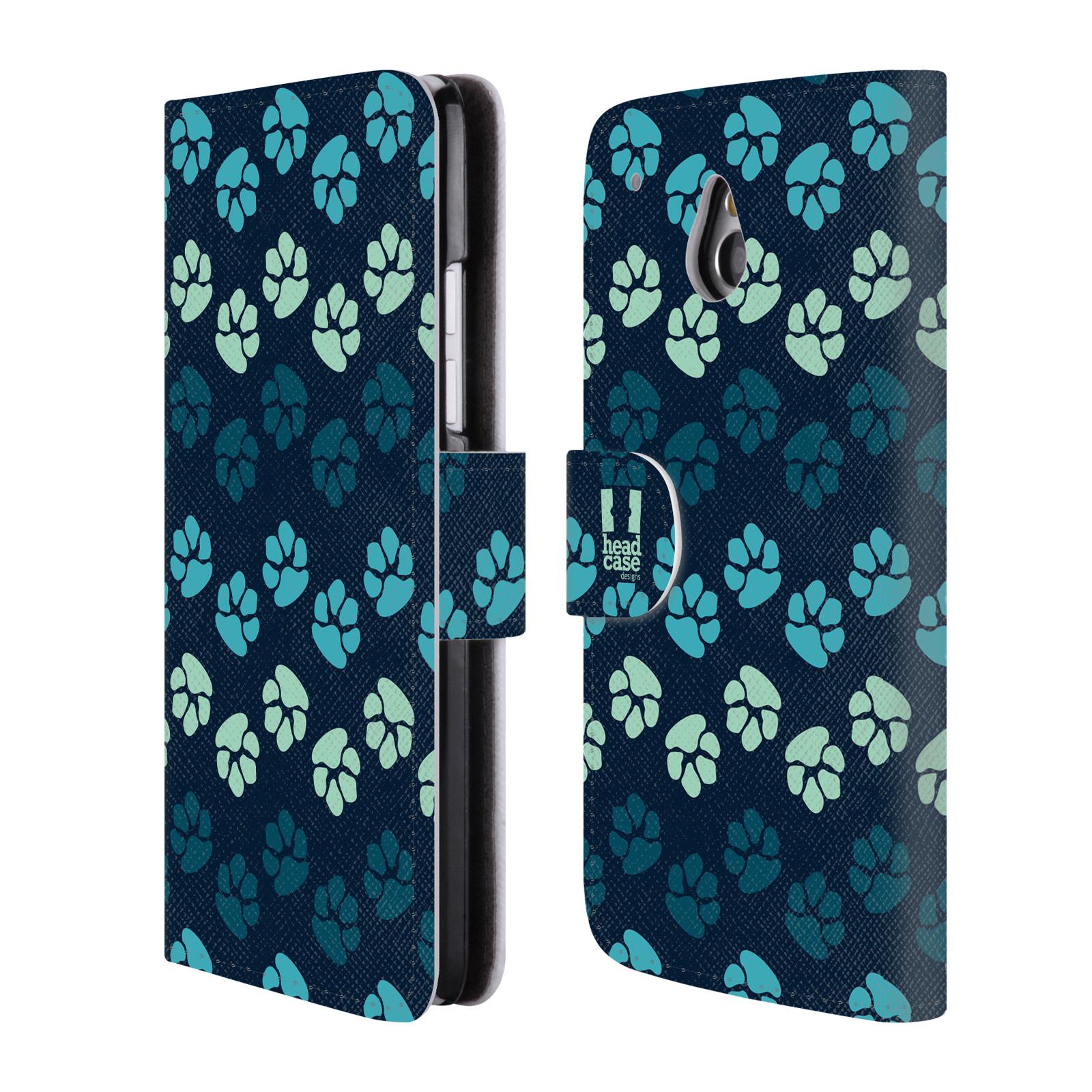 HEAD CASE Flipové pouzdro pro mobil HTC ONE MINI (M4) Pejsek ťapky modrá barva