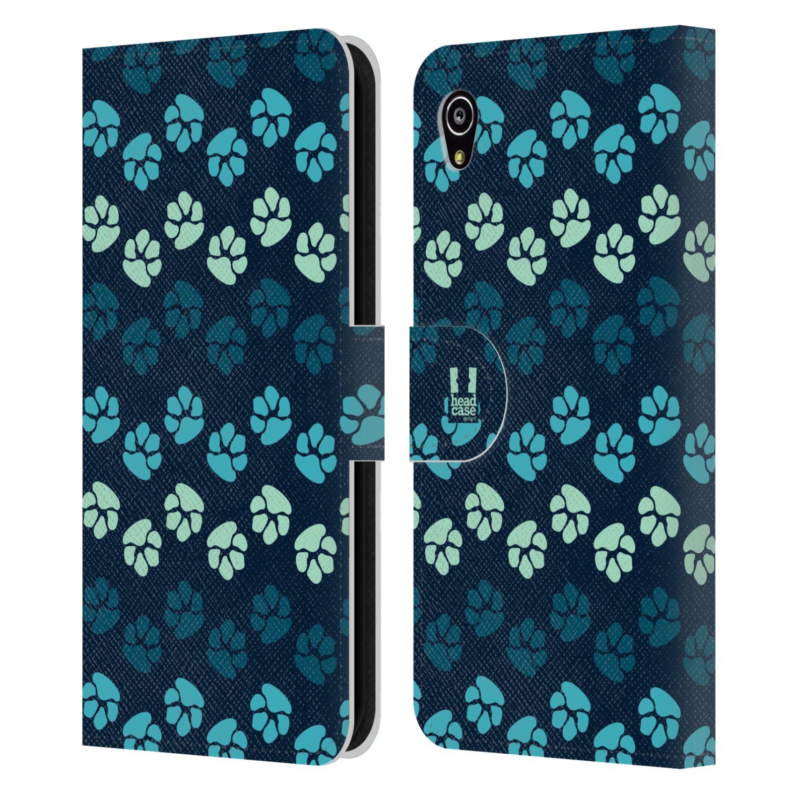 HEAD CASE Flipové pouzdro pro mobil SONY XPERIA M4 AQUA Pejsek ťapky modrá barva