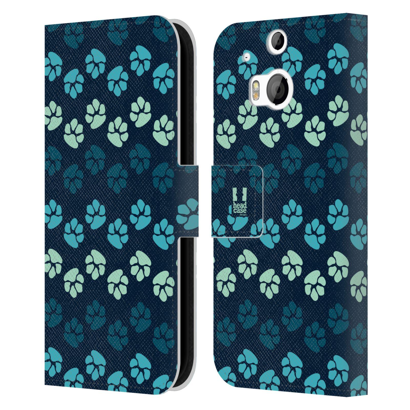 HEAD CASE Flipové pouzdro pro mobil HTC ONE (M8, M8s) Pejsek ťapky modrá barva