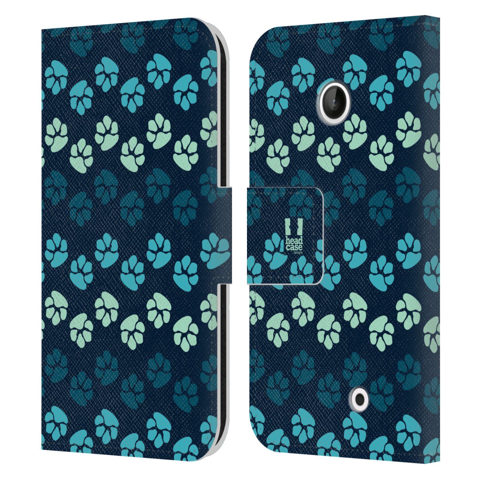 HEAD CASE Flipové pouzdro pro mobil NOKIA LUMIA 630 / LUMIA 630 DUAL Pejsek ťapky modrá barva