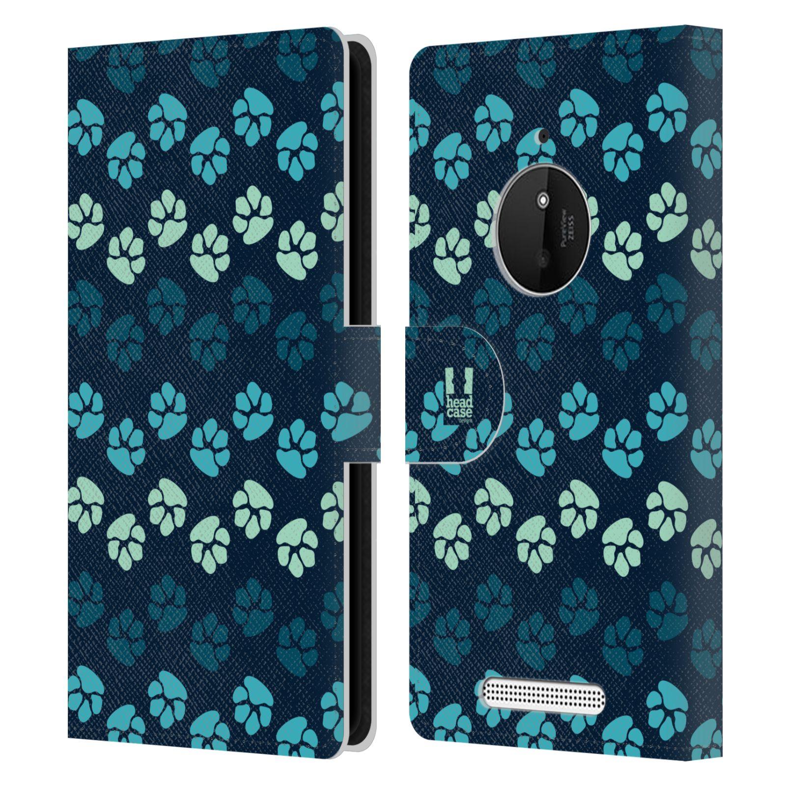HEAD CASE Flipové pouzdro pro mobil NOKIA LUMIA 830 Pejsek ťapky modrá barva