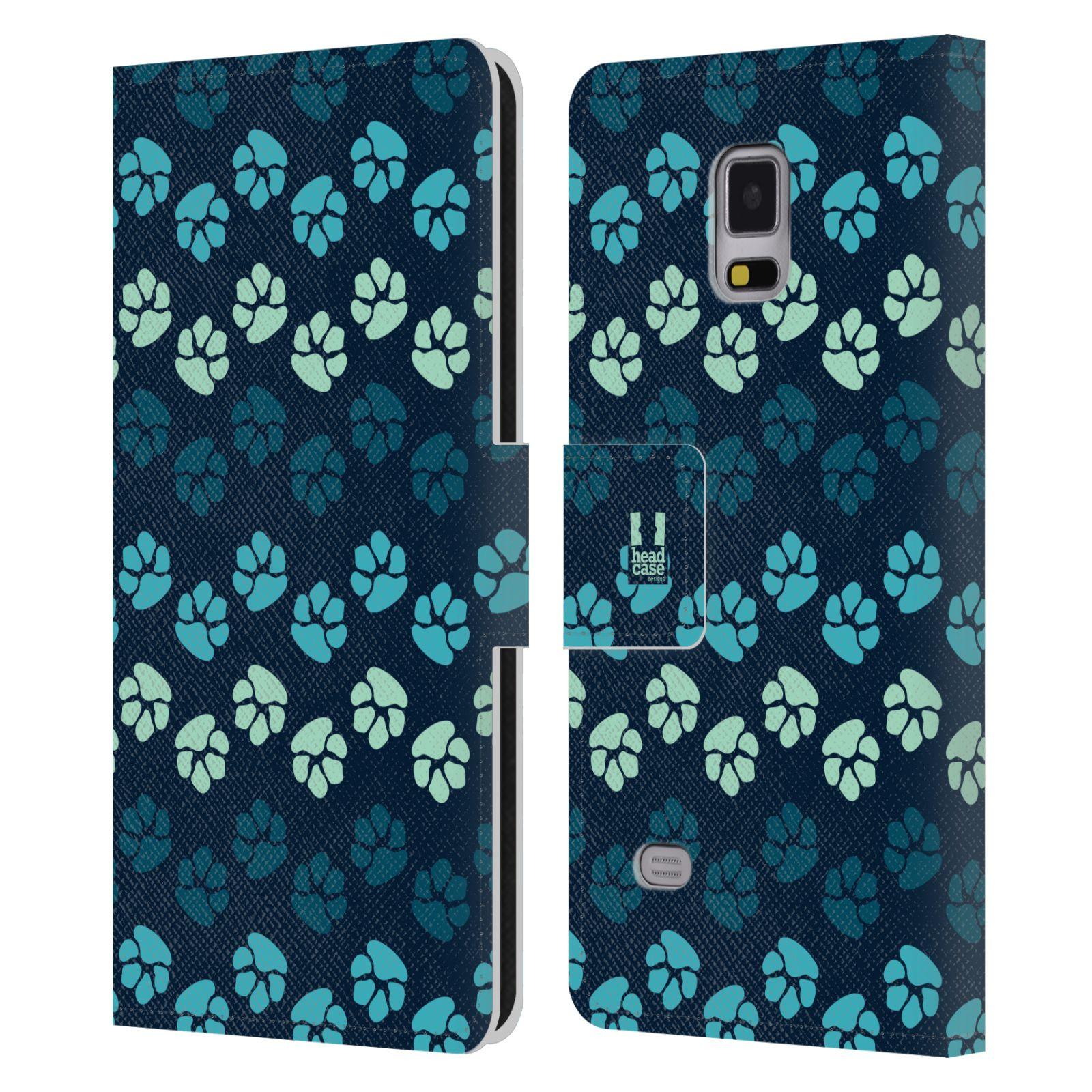 HEAD CASE Flipové pouzdro pro mobil Samsung Galaxy Note 4 Pejsek ťapky modrá barva
