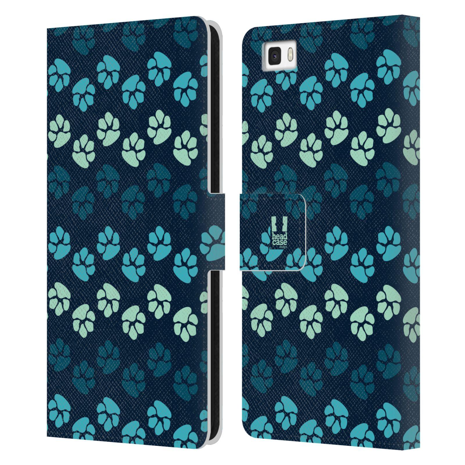 HEAD CASE Flipové pouzdro pro mobil Huawei P8 LITE Pejsek ťapky modrá barva